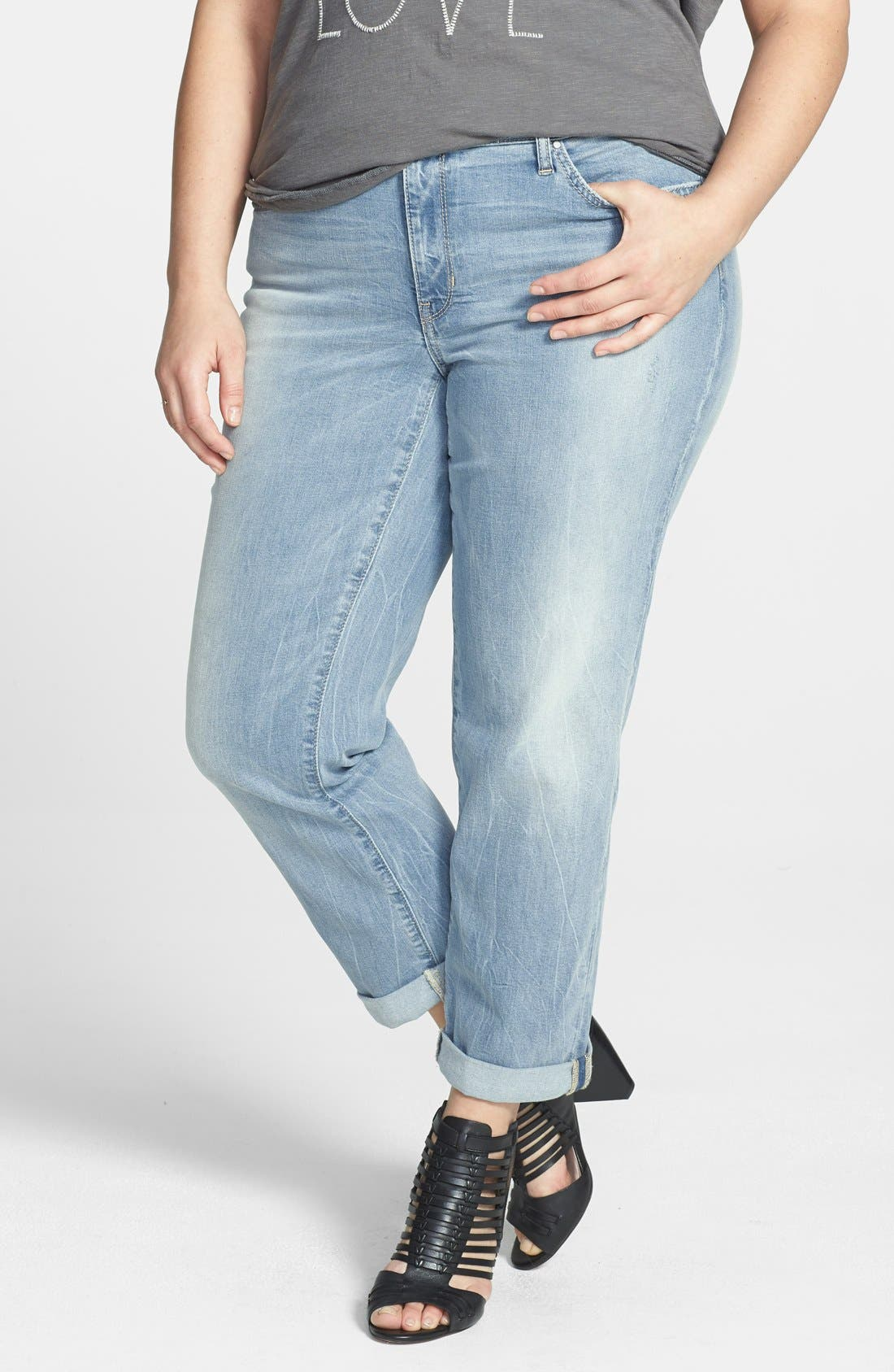 Alternate Image 1 Selected - DKNY 'Bleecker' Boyfriend Jeans (Icy Brook) (Plus Size)