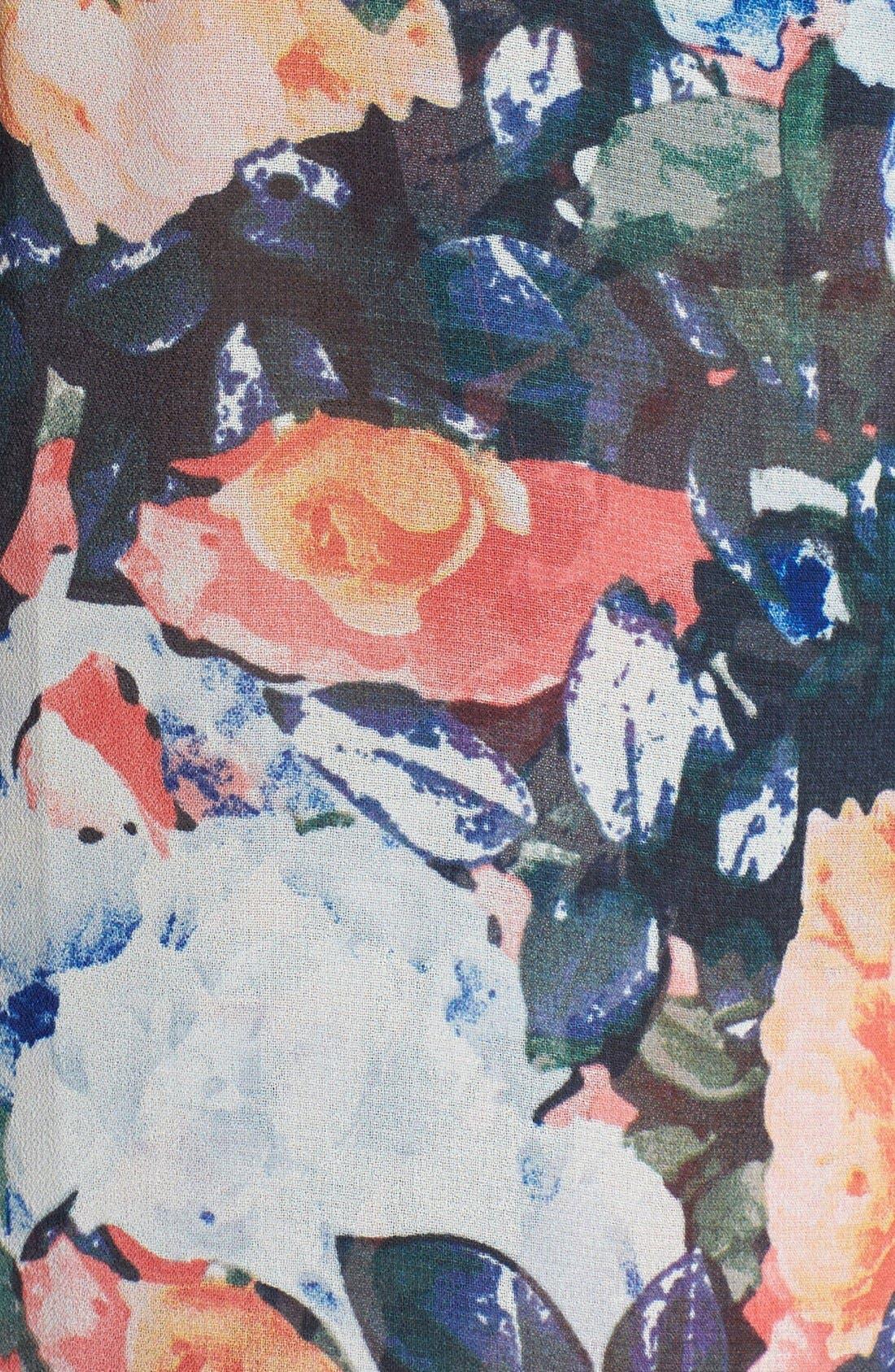Alternate Image 3  - ASTR Drape Back Floral Print Chiffon Tank