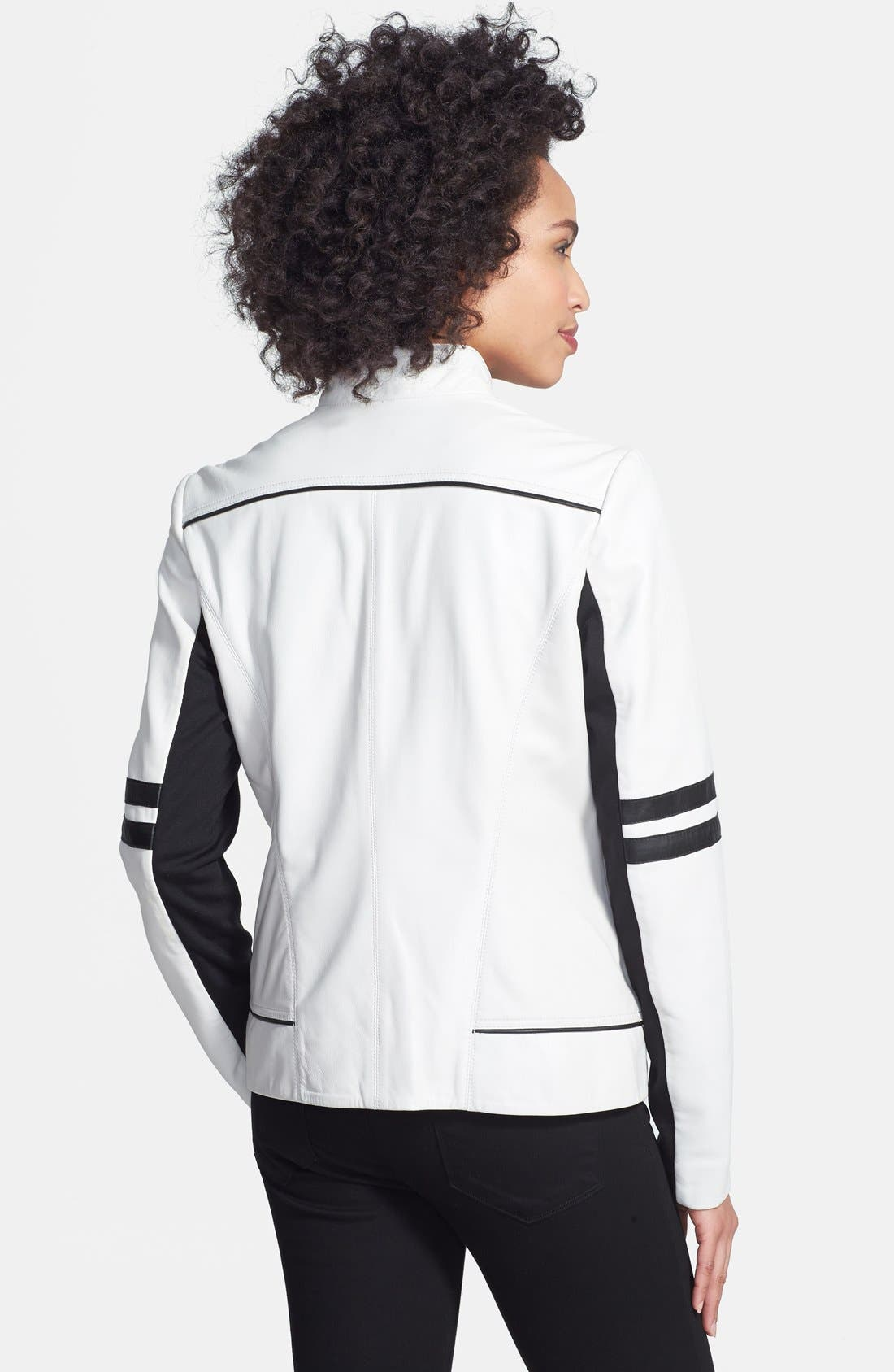 Alternate Image 2  - Laundry by Shelli Segal Two-Tone Leather Moto Jacket