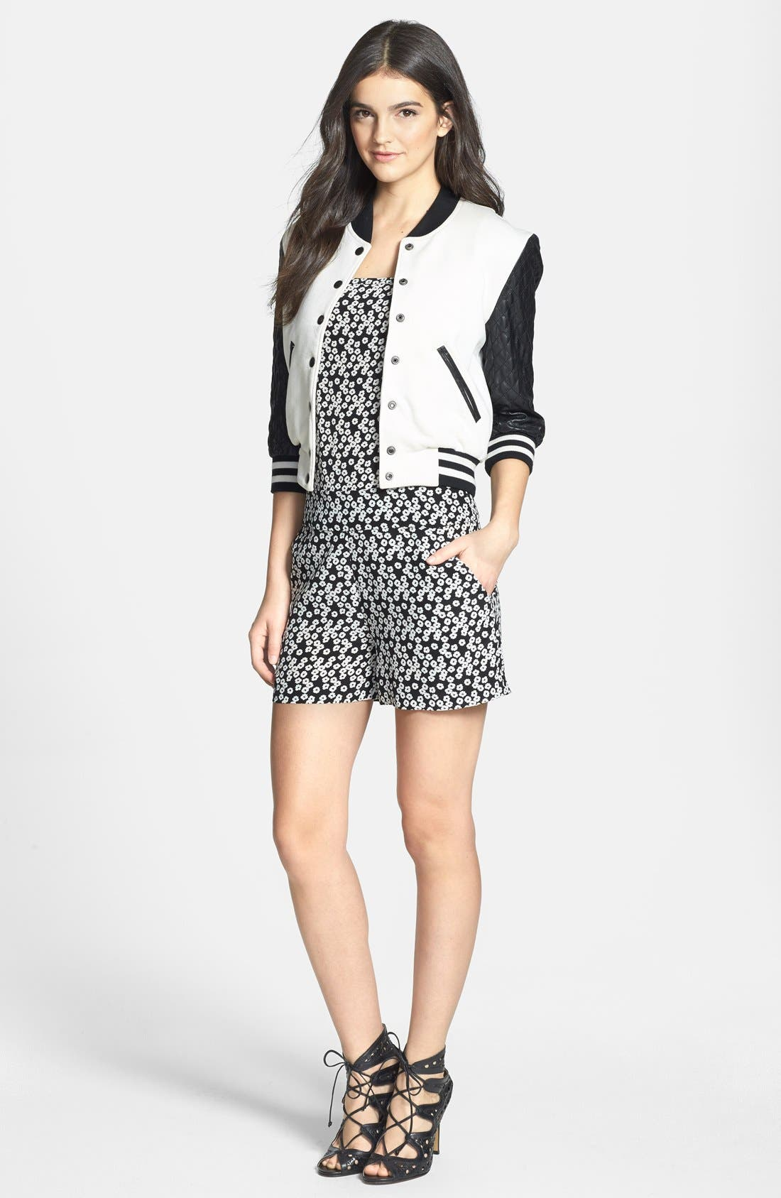 Alternate Image 4  - Pam & Gela Quilted Faux Leather Bomber Jacket