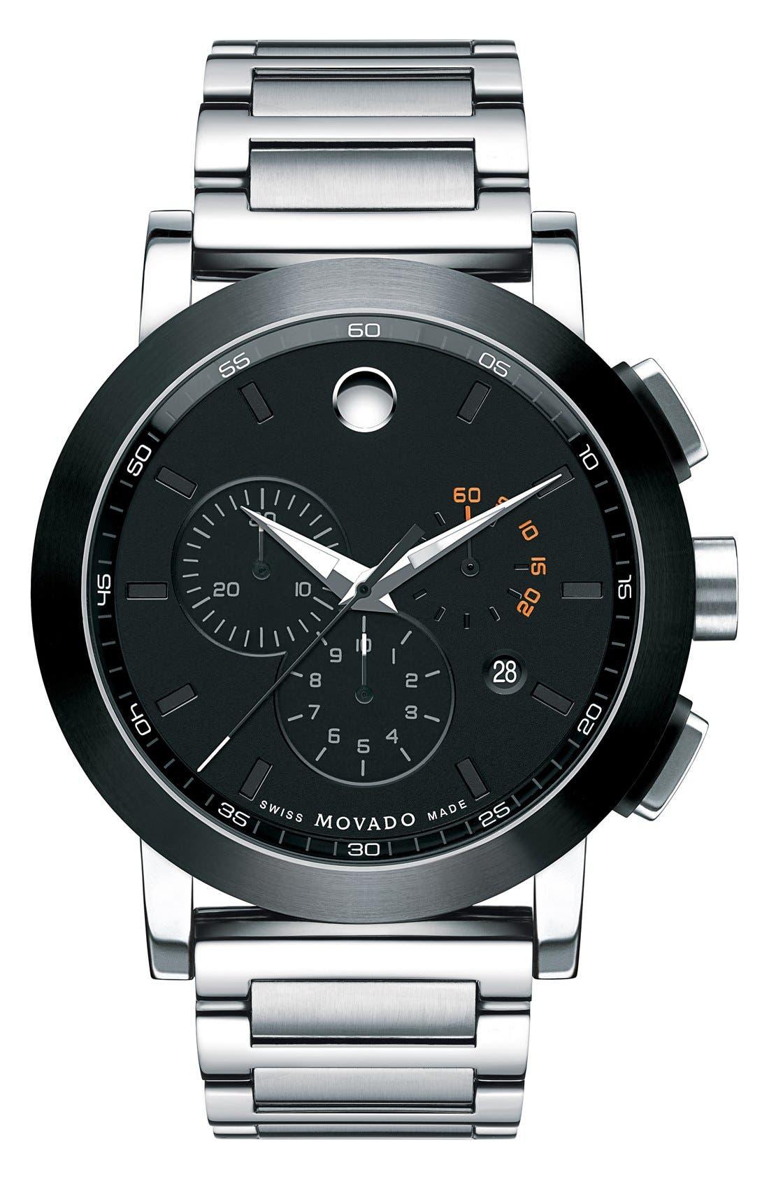 MOVADO 'Museum Sport' Chronograph Bracelet Watch, 44mm