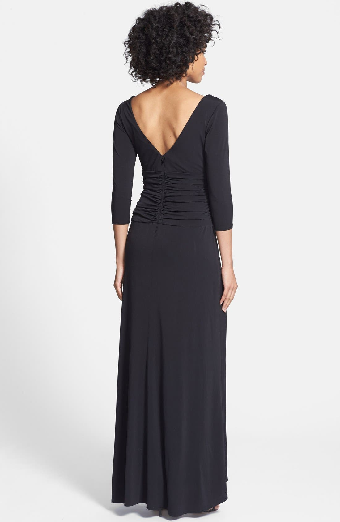 Alternate Image 2  - Tadashi Shoji Twist Front Jersey V-Neck Gown