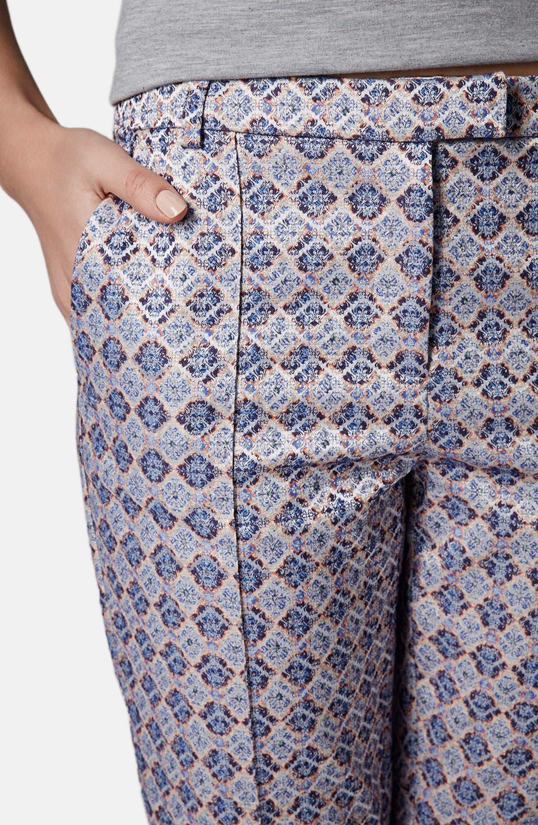 Alternate Image 4  - Topshop 'Folk Tile' Crop Jacquard Trousers