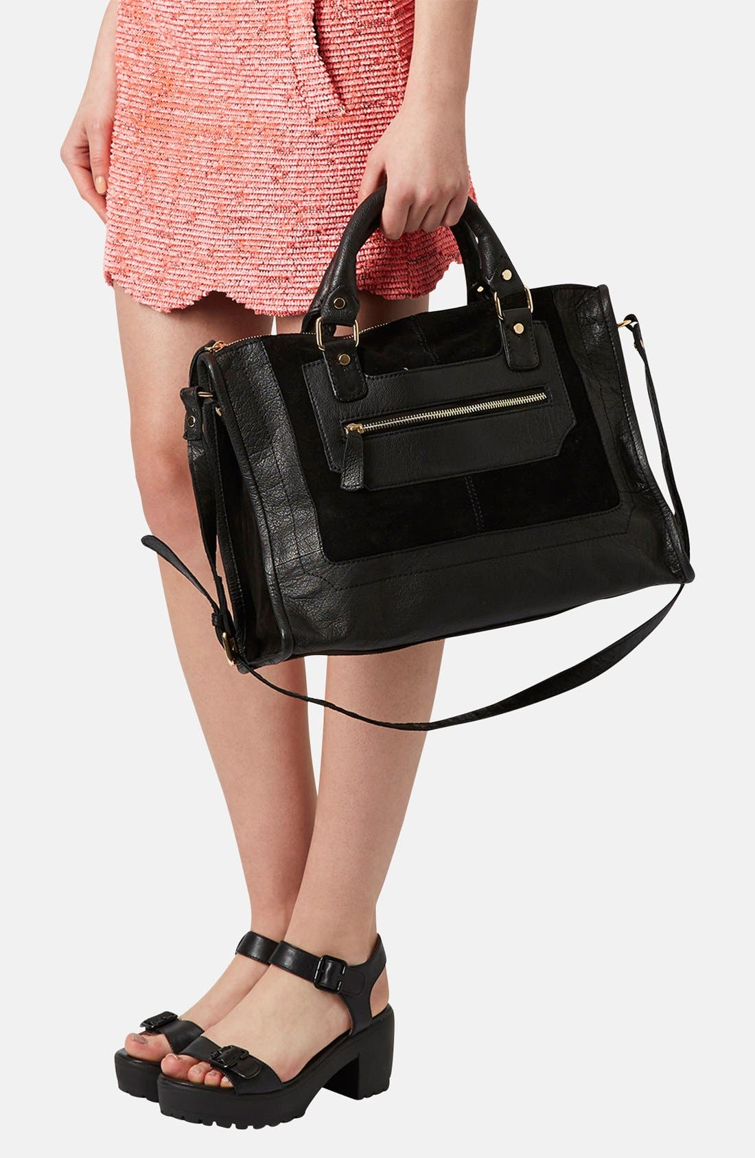 Alternate Image 2  - Topshop Leather & Suede Satchel
