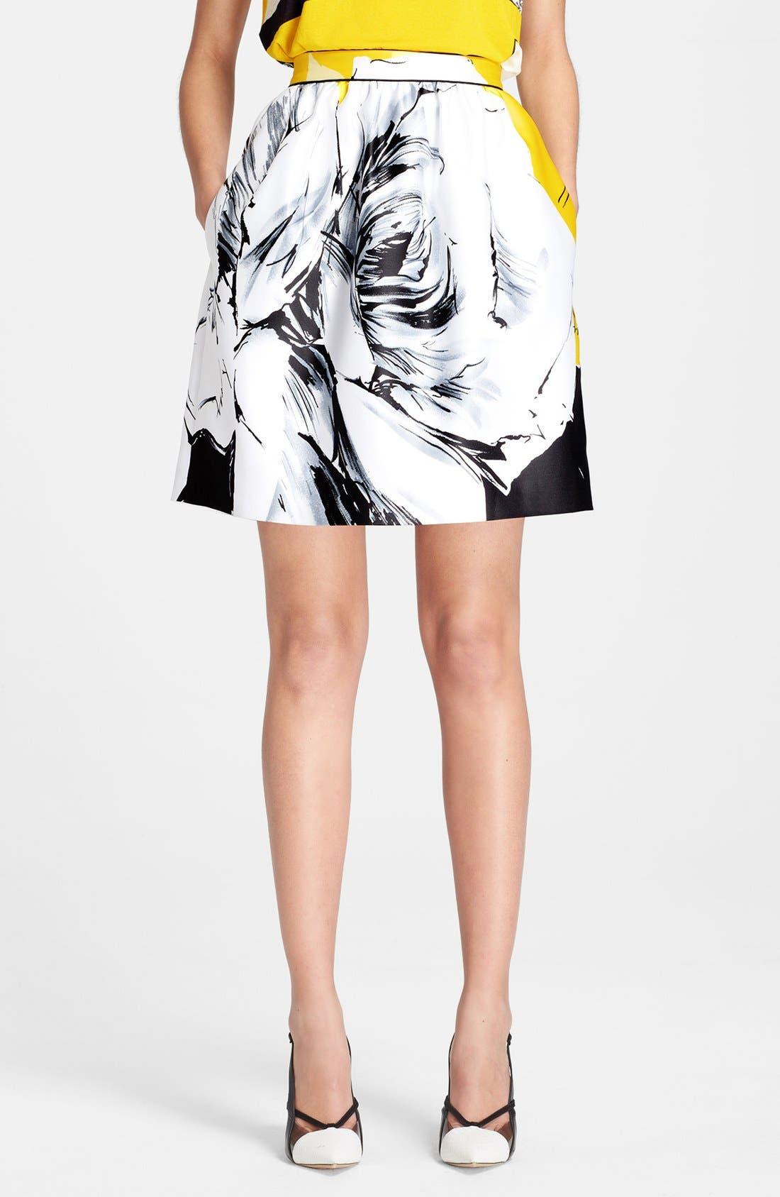 Alternate Image 1 Selected - Prabal Gurung Rose Print Skirt