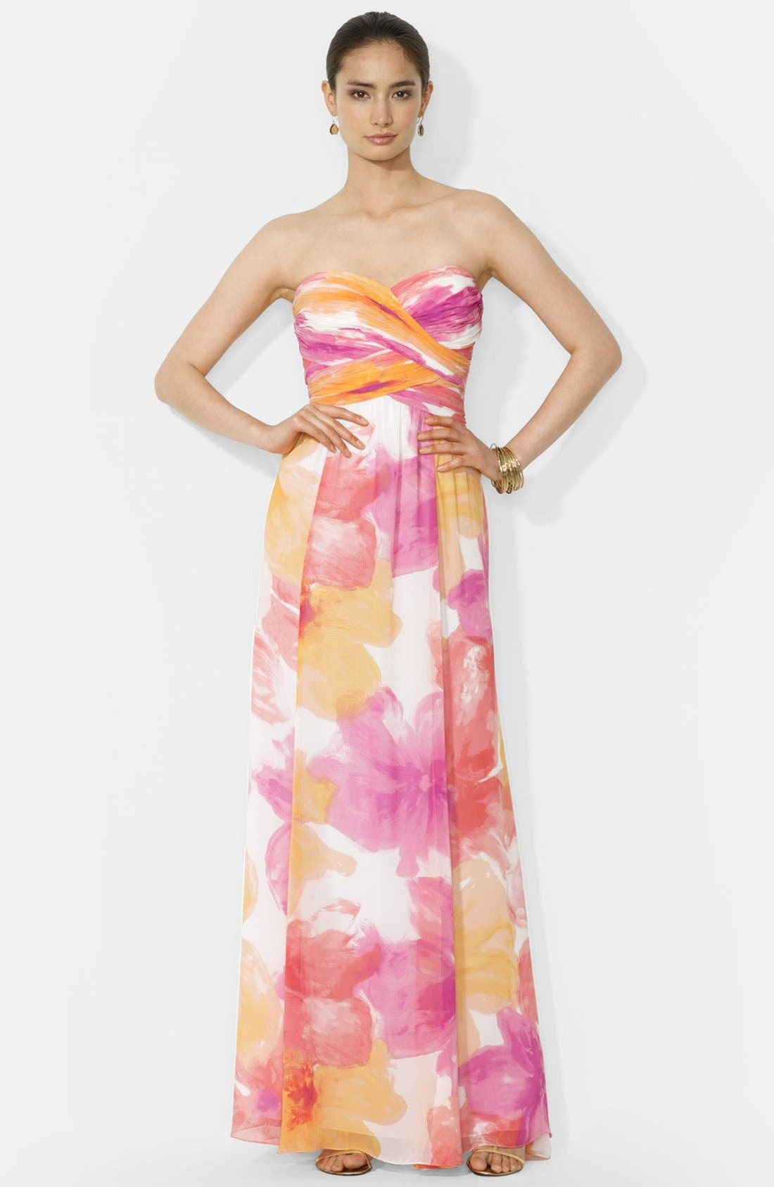 Main Image - Lauren Ralph Lauren Floral Print Strapless Gown