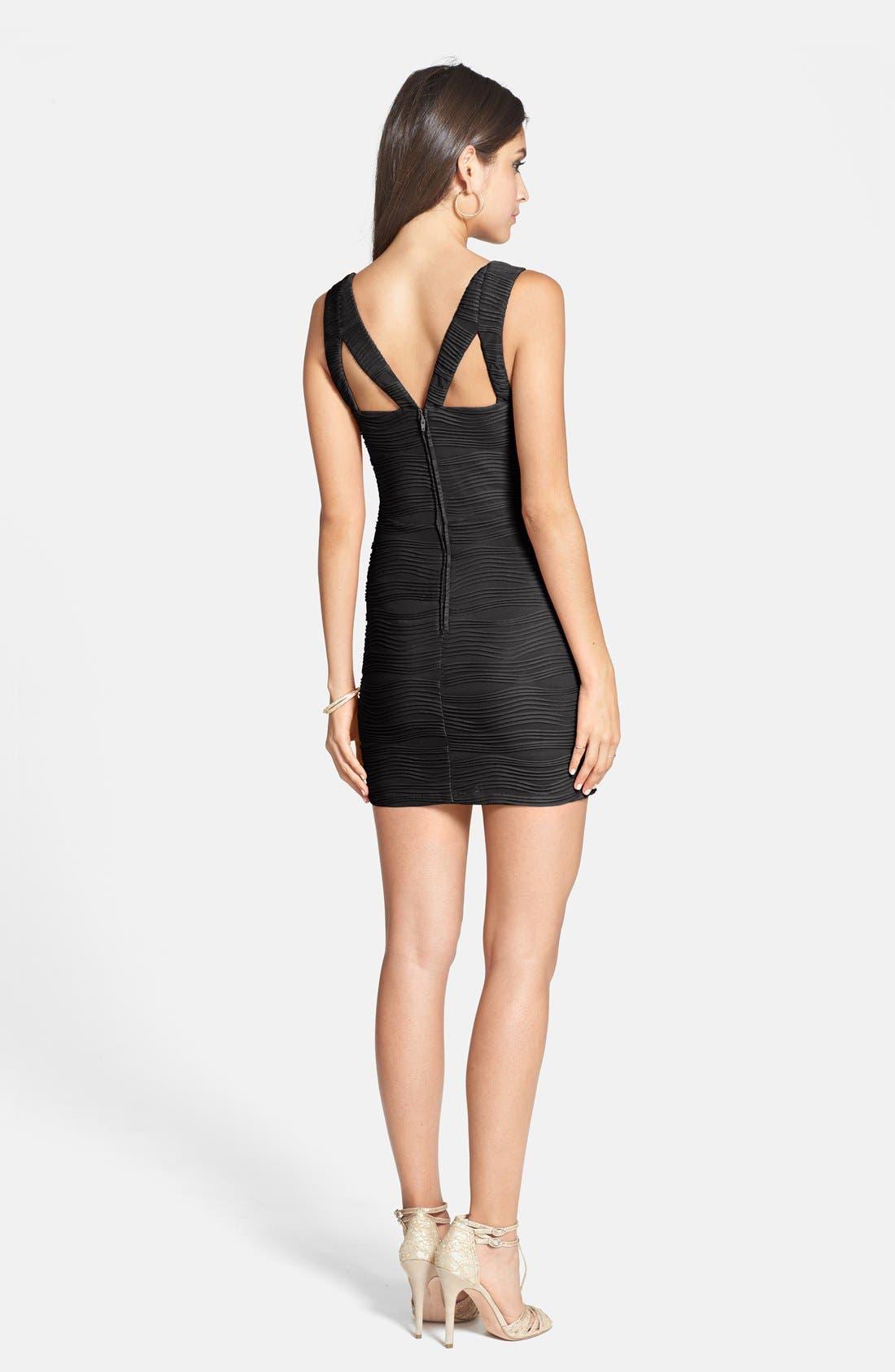 Alternate Image 2  - Hailey Logan Textured Knit Body-Con Dress (Juniors)