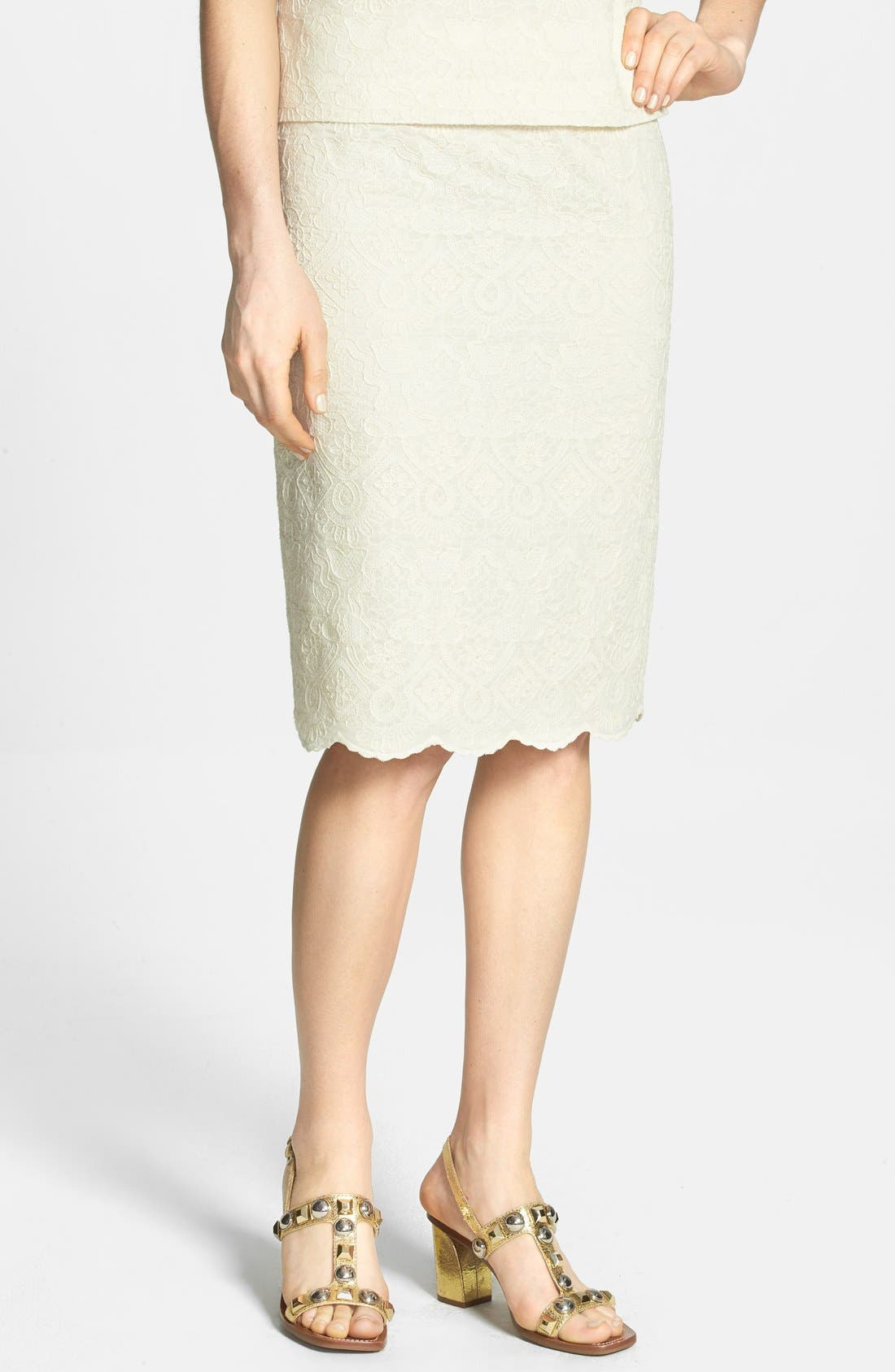 Main Image - Tory Burch Lace Embroidered Pencil Skirt
