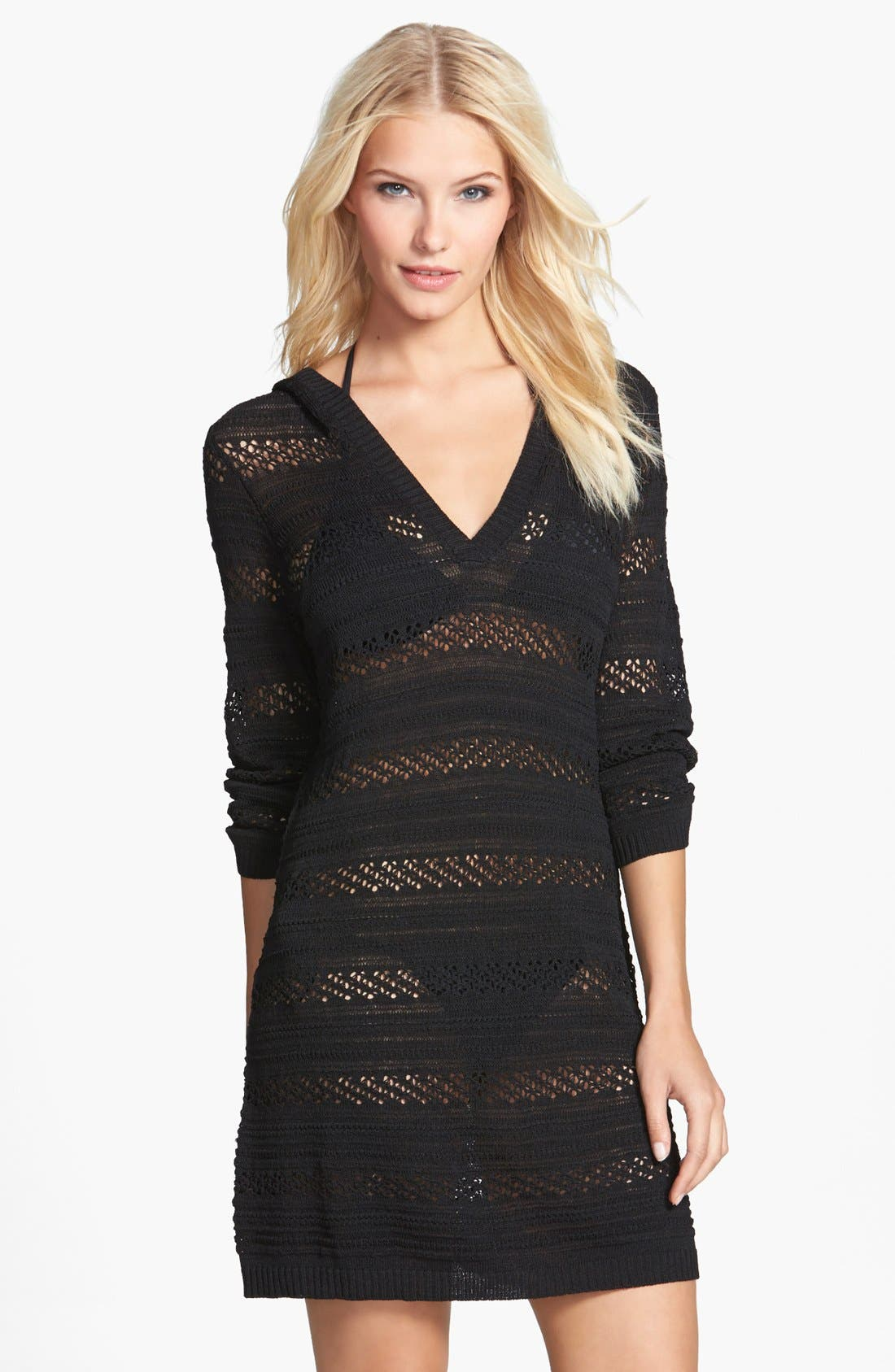 Main Image - Tommy Bahama Hooded Pointelle Knit Cover-Up