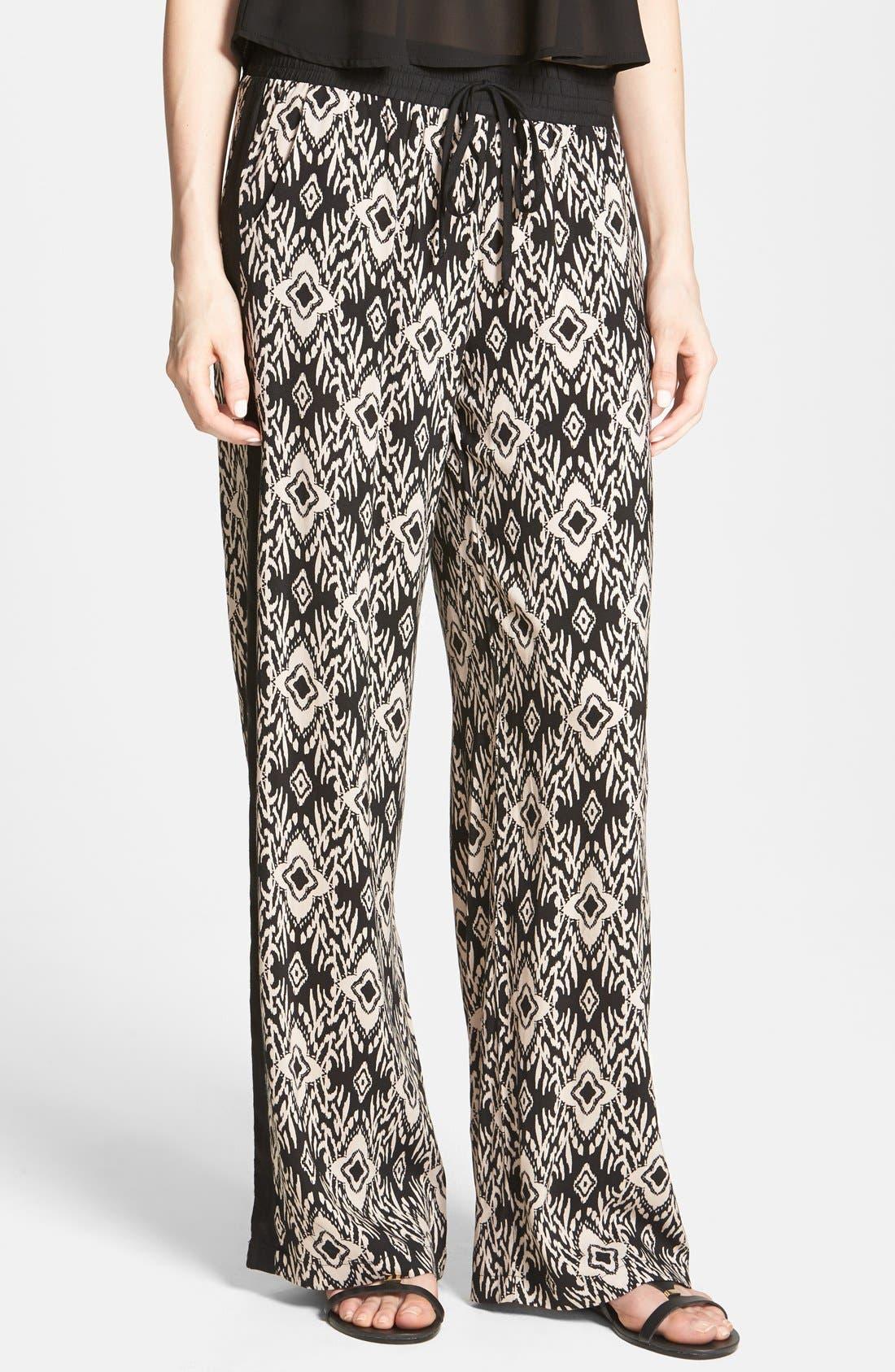 Alternate Image 1 Selected - Socialite Tux Stripe Palazzo Pants (Juniors)
