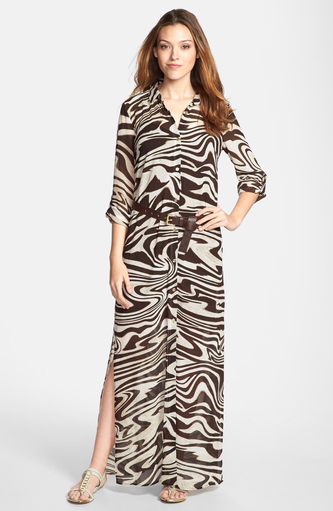 Main Image - MICHAEL Michael Kors Belted Maxi Shirt Dress