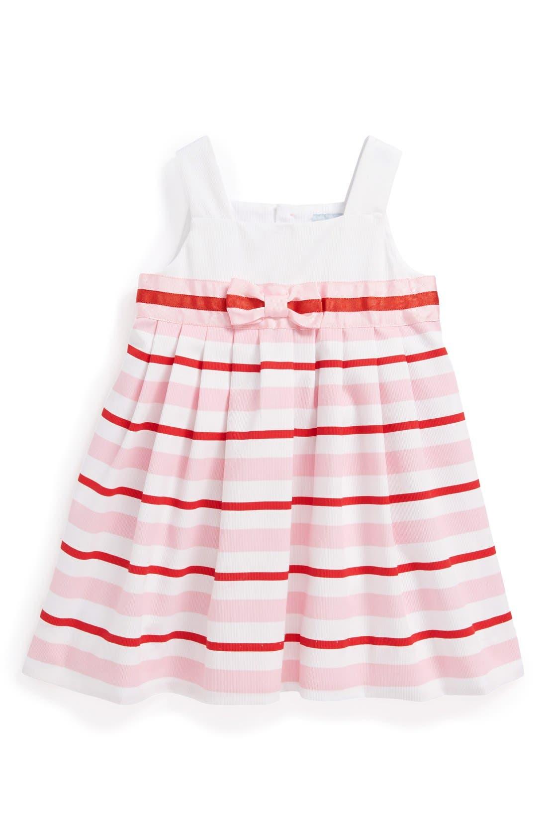 Main Image - Luli & Me Nautical Stripe Cotton & Linen A-Line Dress (Baby Girls)