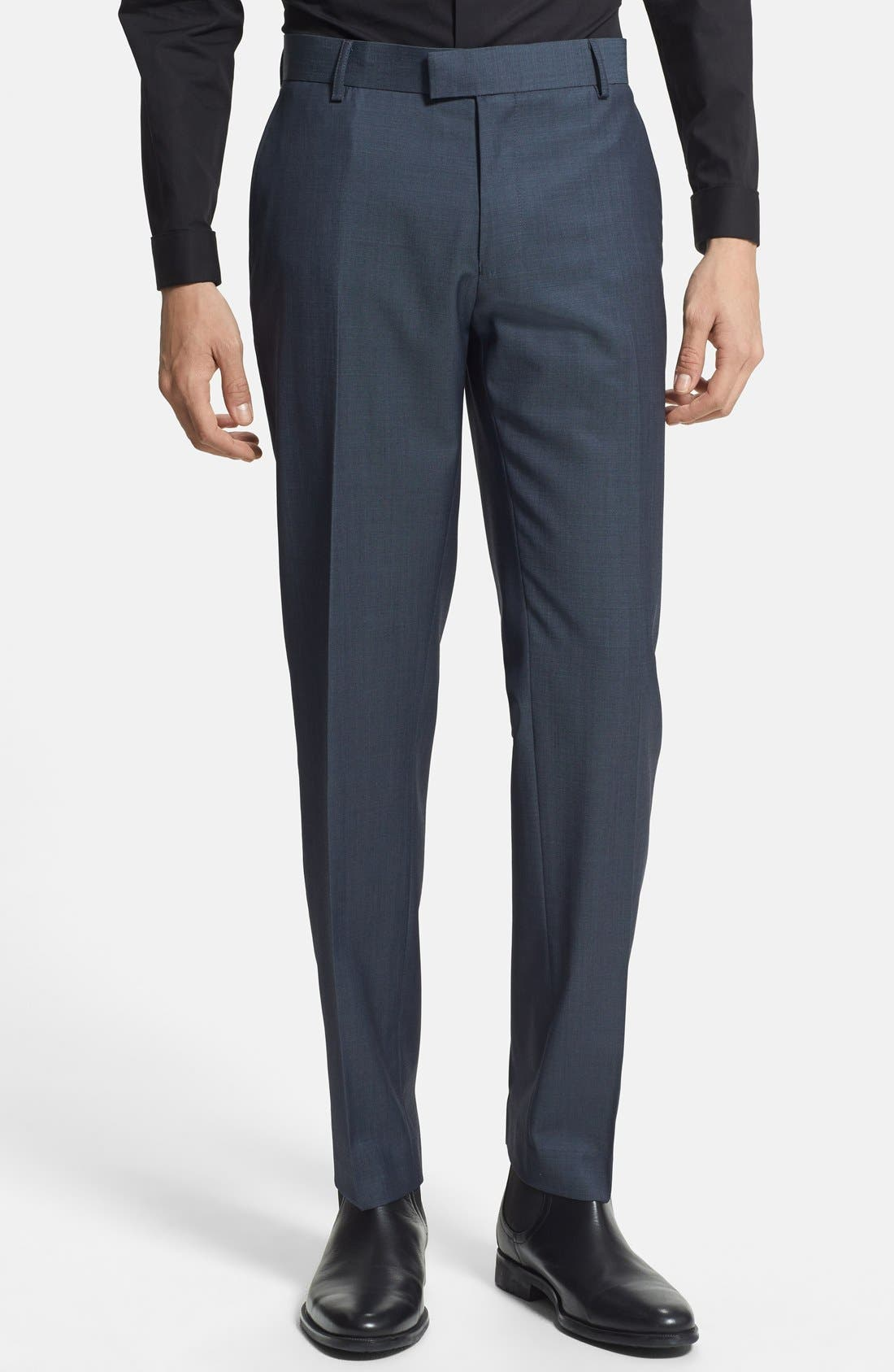 Alternate Image 1 Selected - Topman Skinny Fit Navy Suit Trousers