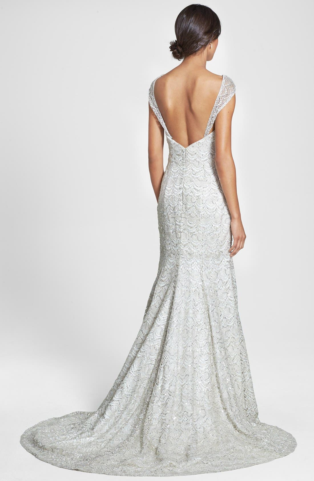 Alternate Image 2  - Olia Zavozina Beaded Metallic Lace Gown (In Stores Only)