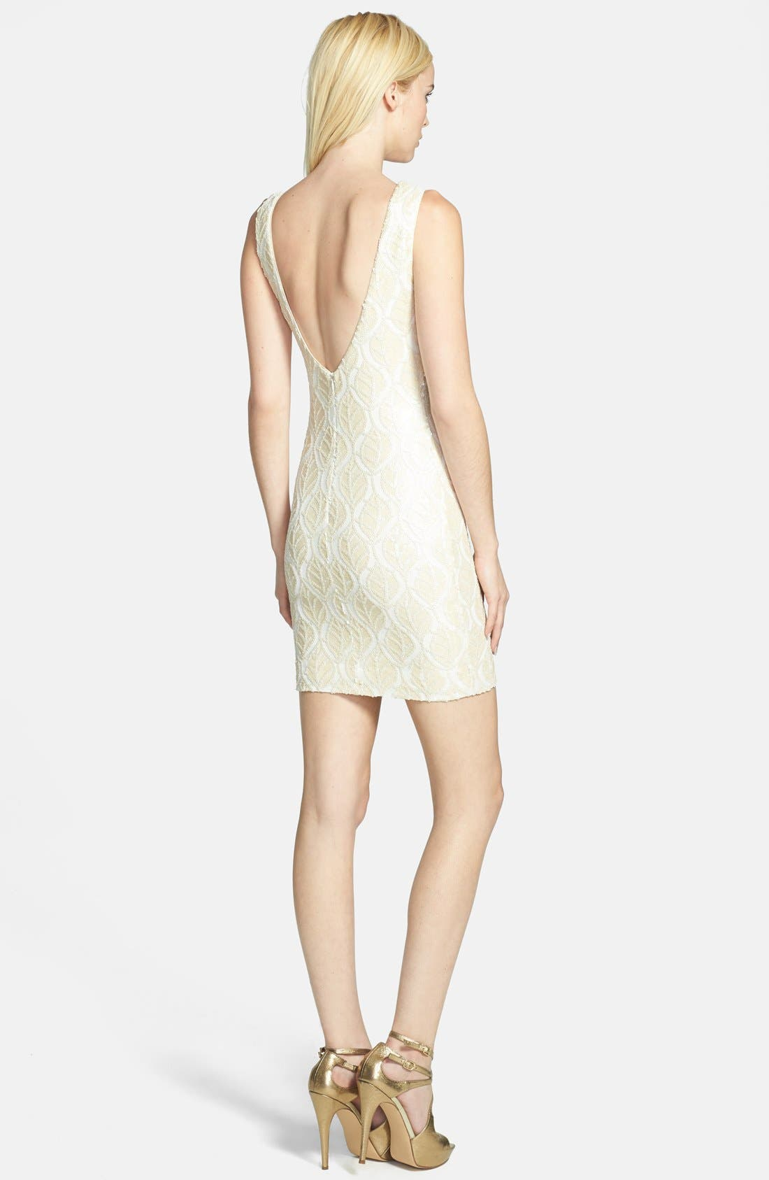 Alternate Image 2  - Dress the Population 'Kim' Faux Leather Sequin Body-Con Dress