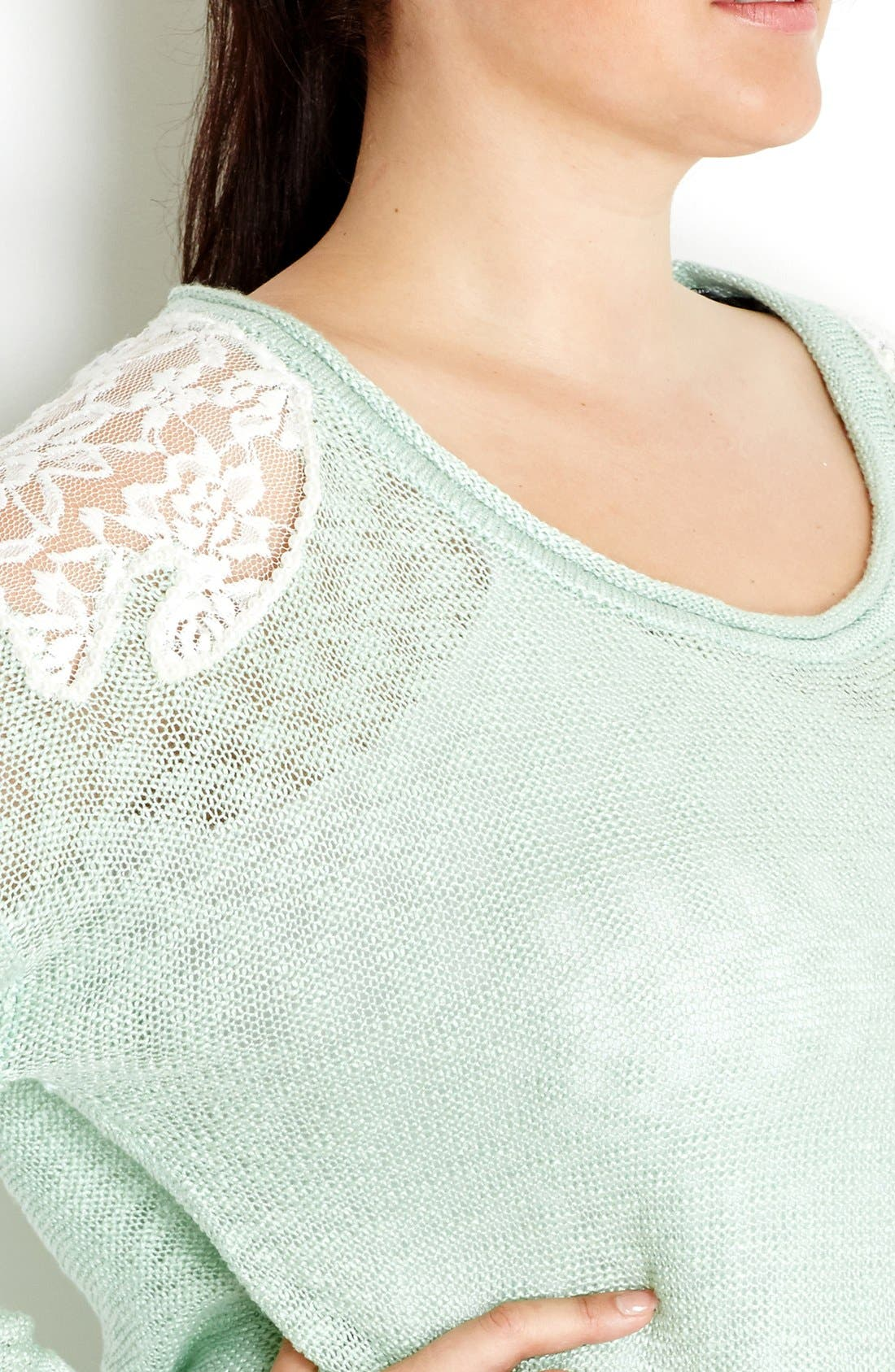 Alternate Image 3  - City Chic 'Precious Pearl' Lace Inset Sweater (Plus Size)