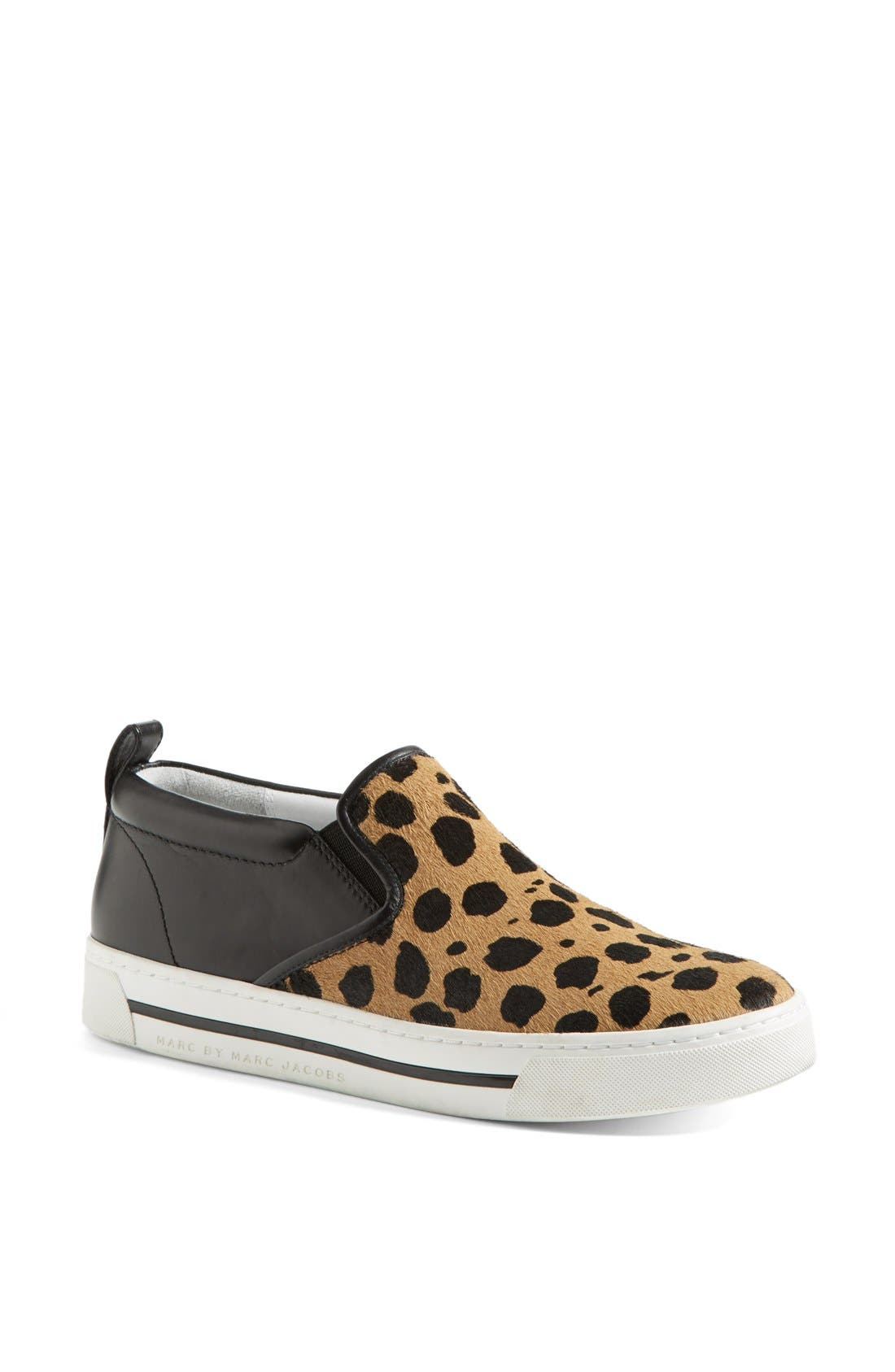 Main Image - MARC BY MARC JACOBS Leather & Calf Hair Slip-On Sneaker