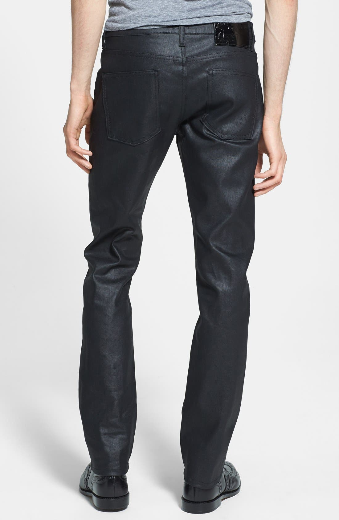 Alternate Image 2  - Naked & Famous Denim 'Skinny Guy' Skinny Fit Jeans (Wax Coated Black Stretch)