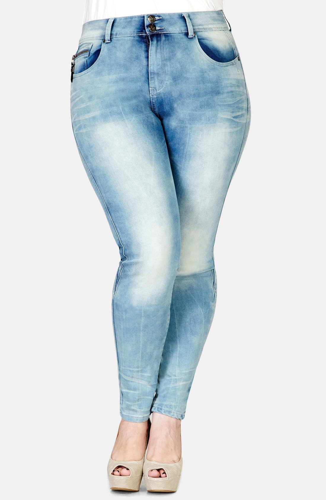 Alternate Image 1 Selected - City Chic 'Miss Attitude' Skinny Jeans (Plus Size)