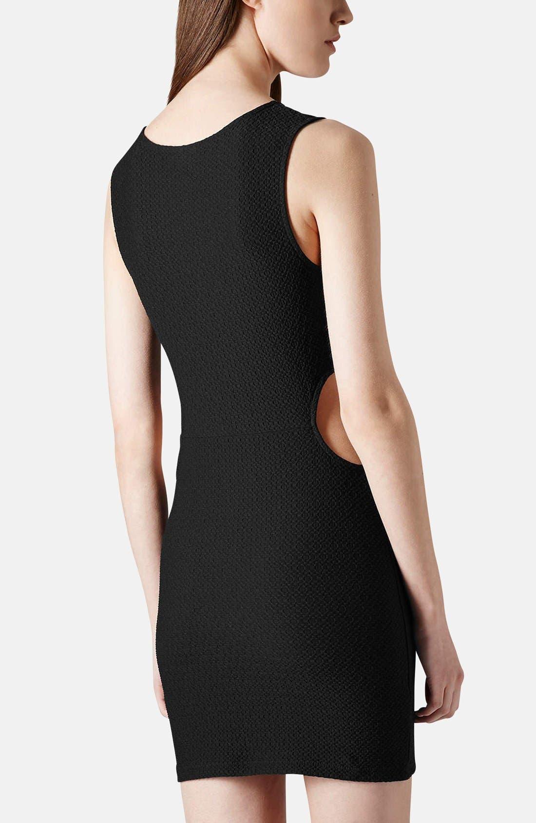 Alternate Image 2  - Topshop Textured Cutout Body-Con Dress