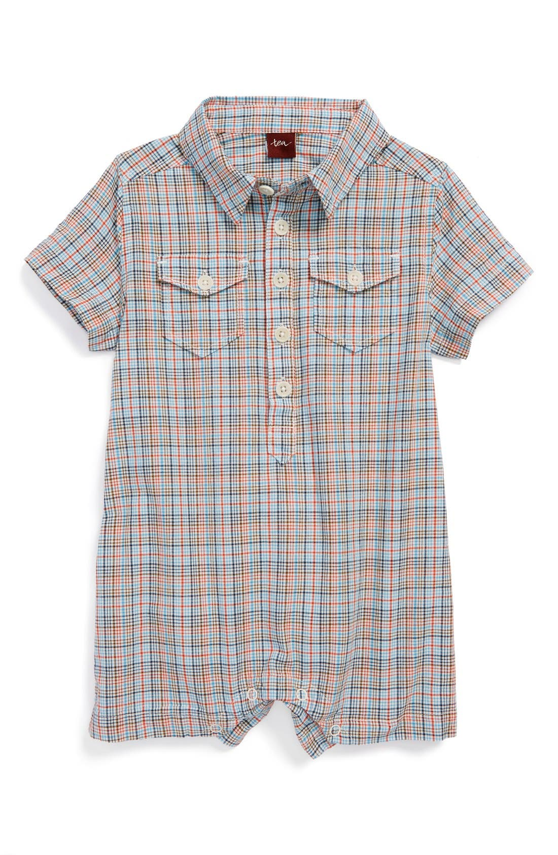 Alternate Image 1 Selected - Tea Collection 'Madras' Plaid Romper (Baby Boys)
