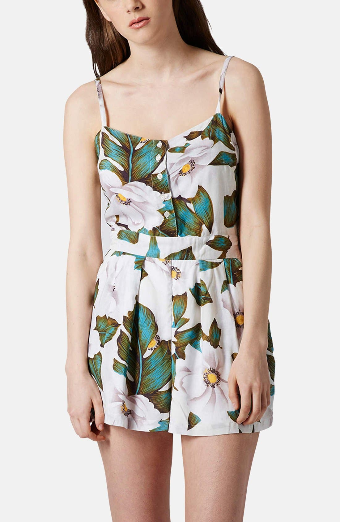 Alternate Image 1 Selected - Topshop 'Aloha' Floral Print Romper
