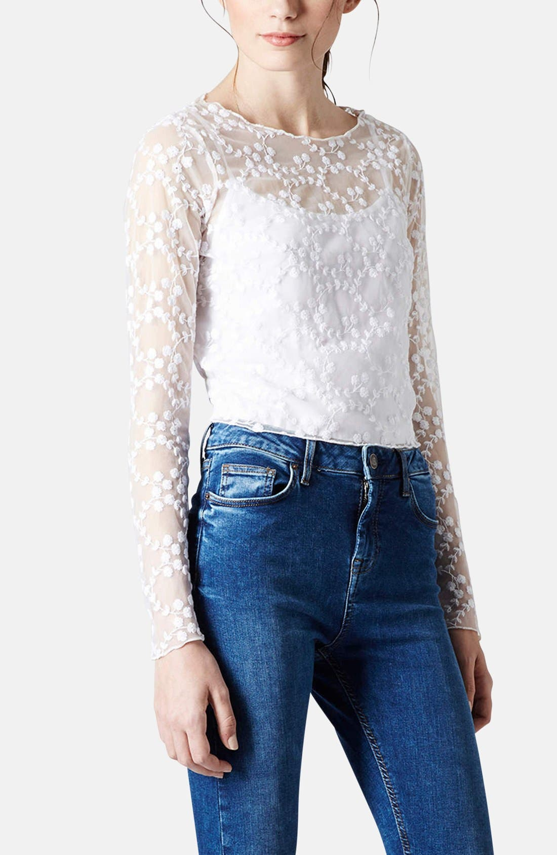 Main Image - Topshop Embroidered Floral Mesh Top
