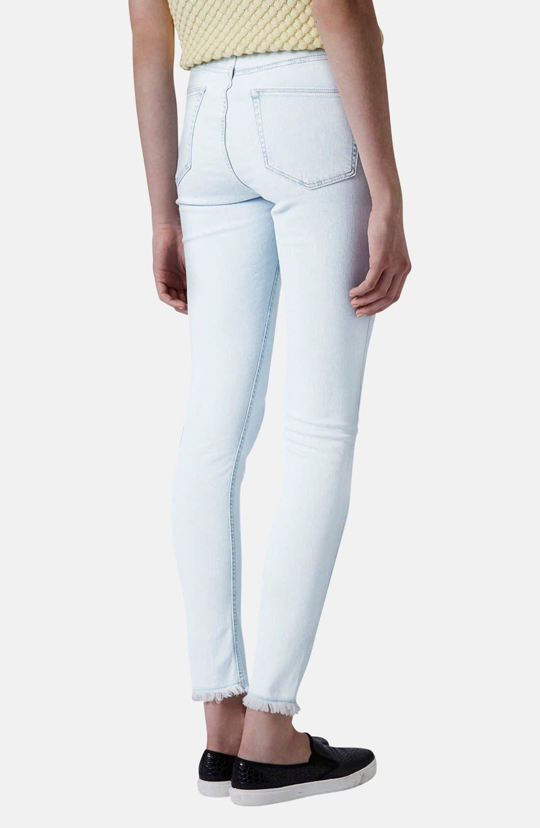 Alternate Image 2  - Topshop Moto 'Jamie' High Rise Skinny Jeans (Light Blue) (Regular & Short)