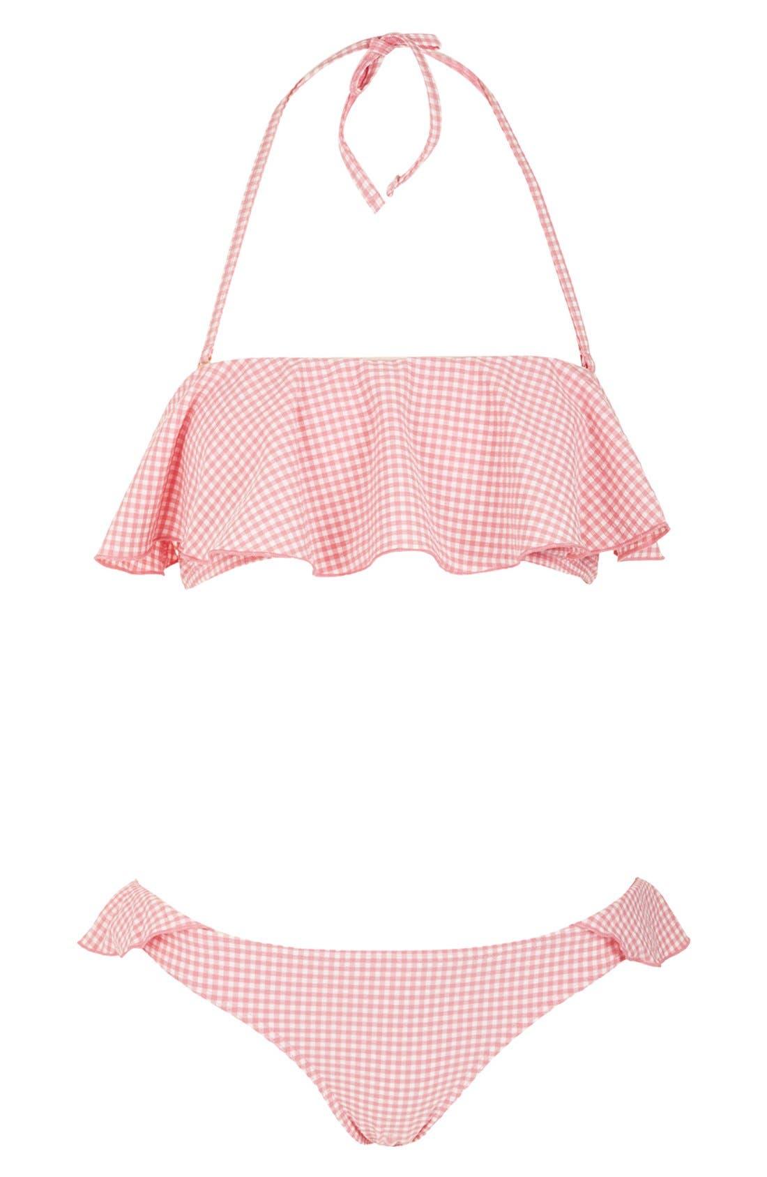 Main Image - Topshop Ruffle Gingham Bikini