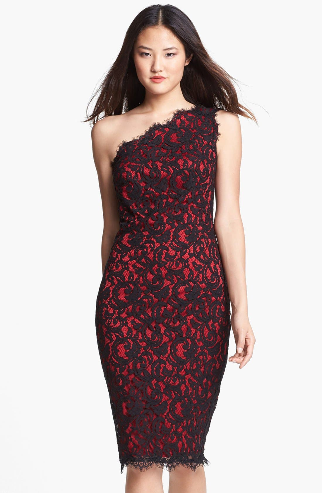 Main Image - Tadashi Shoji One-Shoulder Lace Sheath Dress