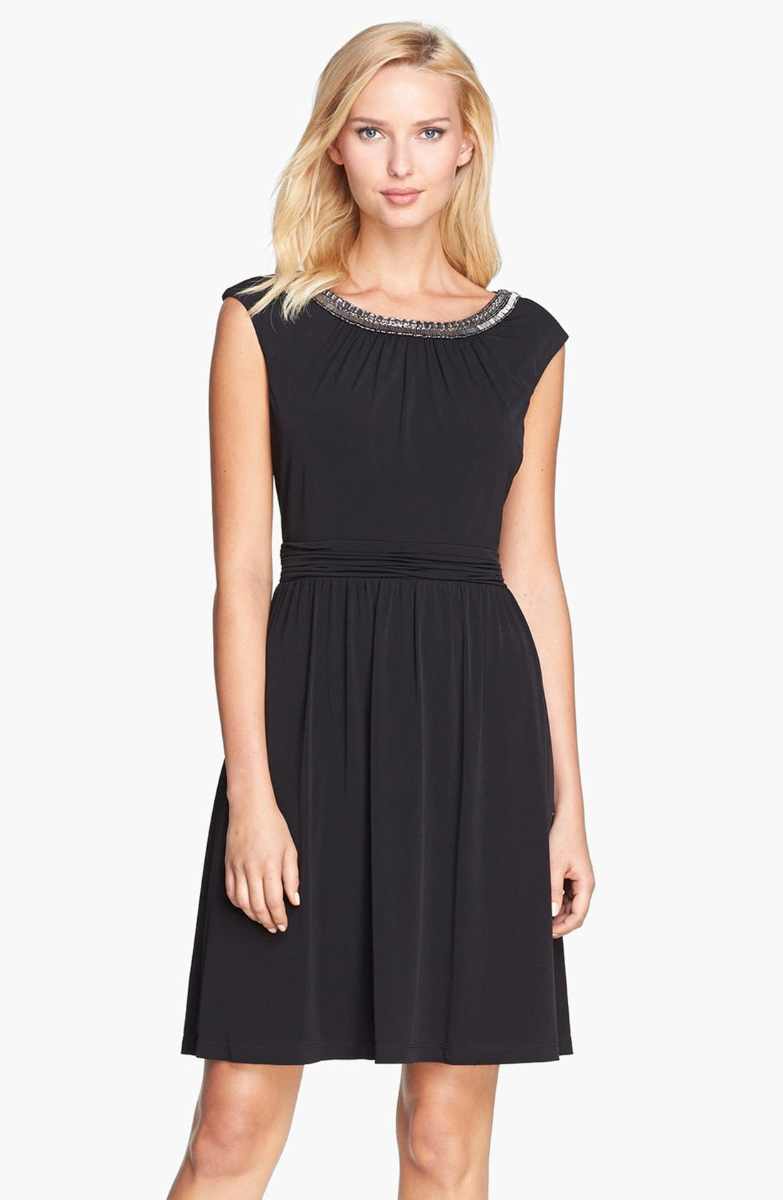 Main Image - Ellen Tracy Embellished Lace Back Crepe Dress