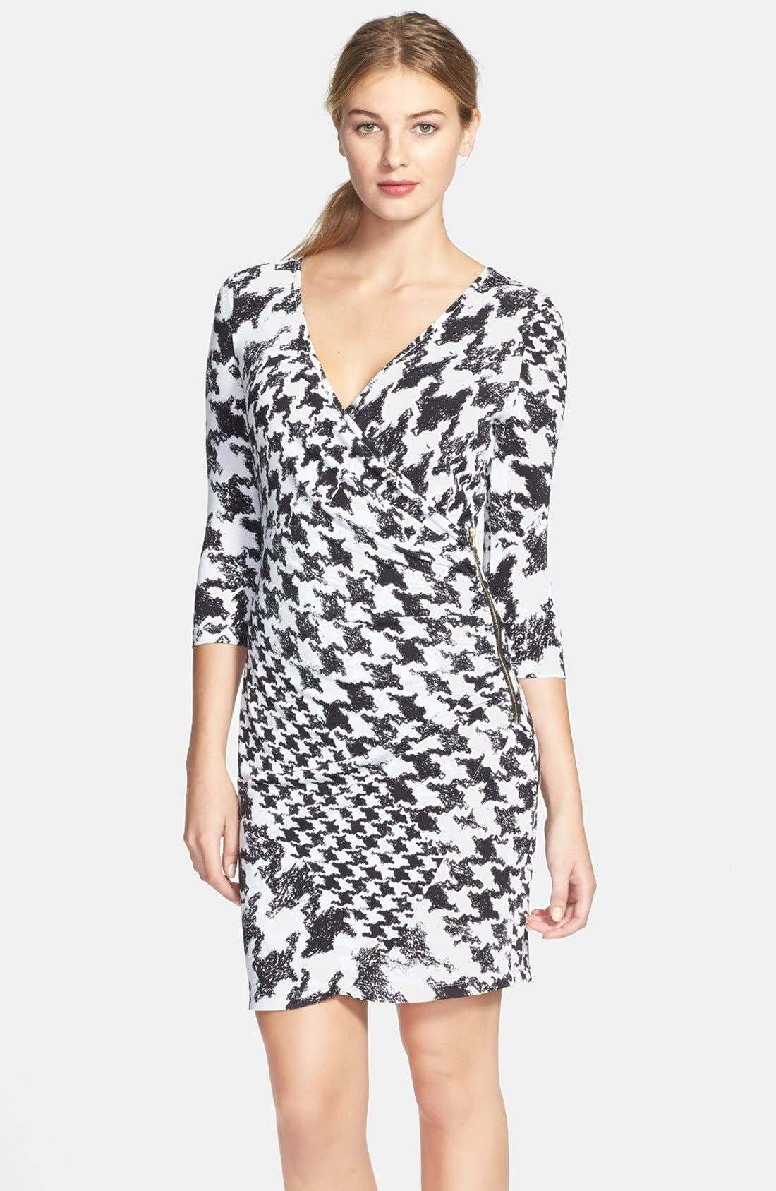 Main Image - GUESS Houndstooth Print Faux Wrap Jersey Dress