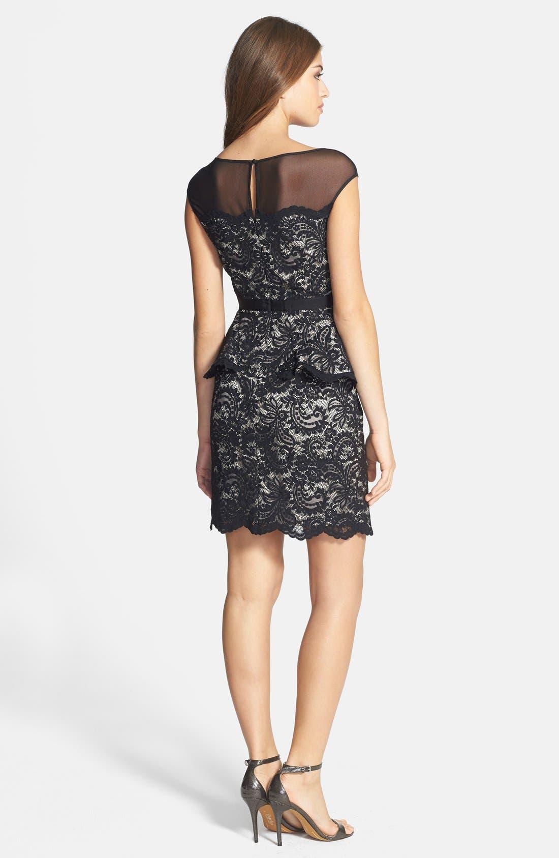 Alternate Image 2  - Eliza J Illusion Neck Lace Peplum Dress