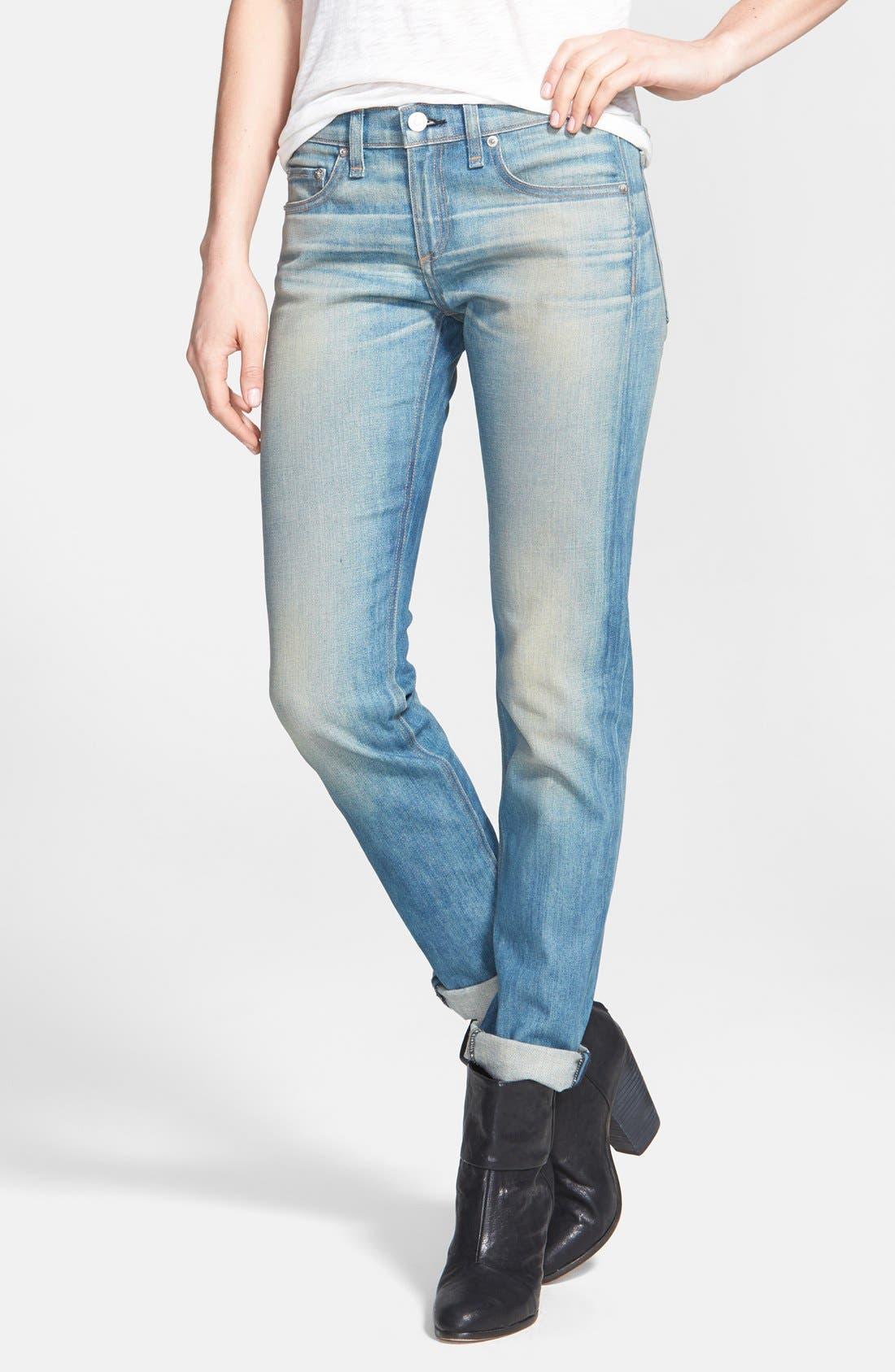 Main Image - rag & bone/JEAN 'The Dre' Slim Fit Boyfriend Jeans (Greencast)