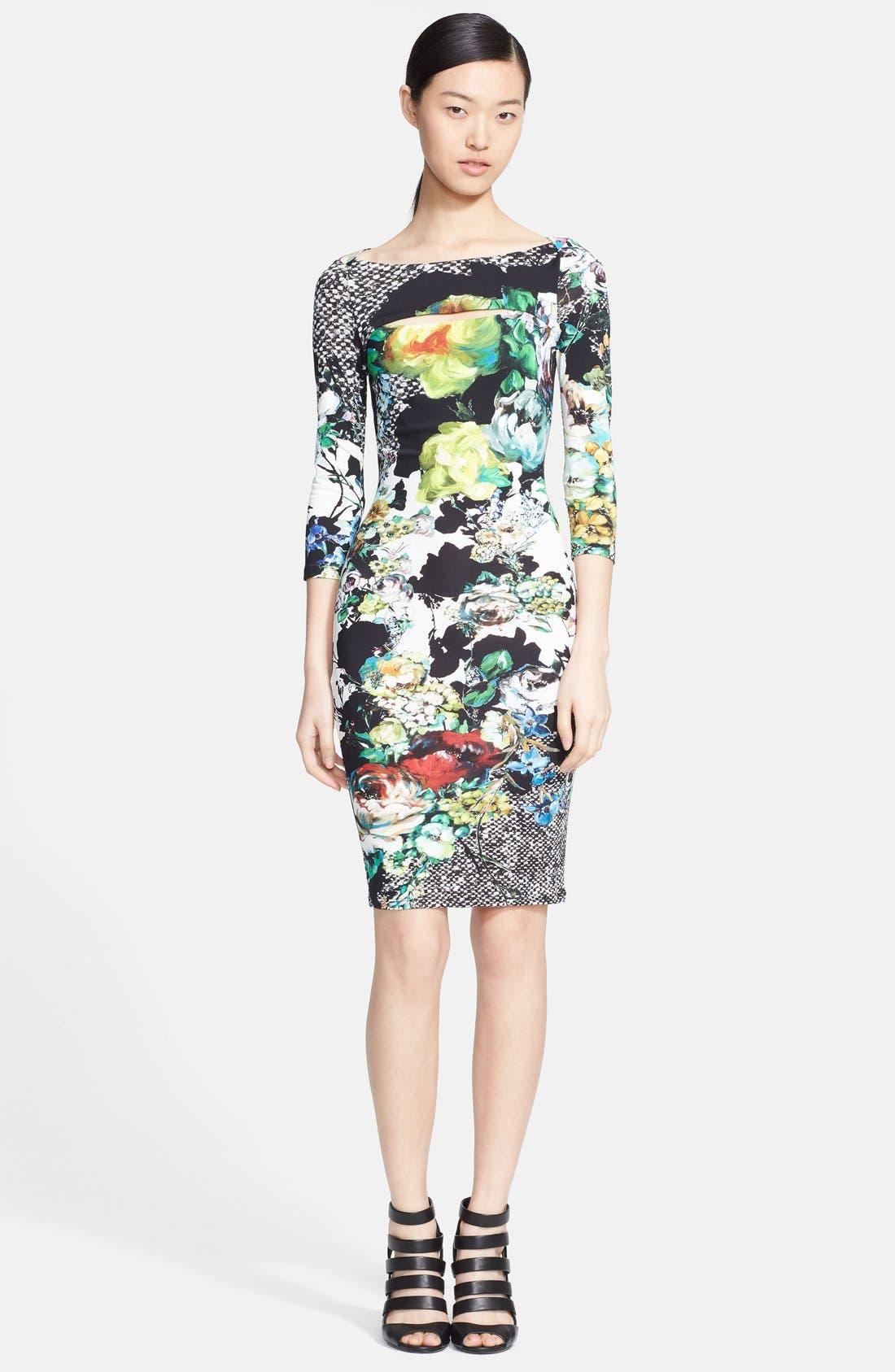 Alternate Image 1 Selected - Roberto Cavalli Slit Neck Print Dress
