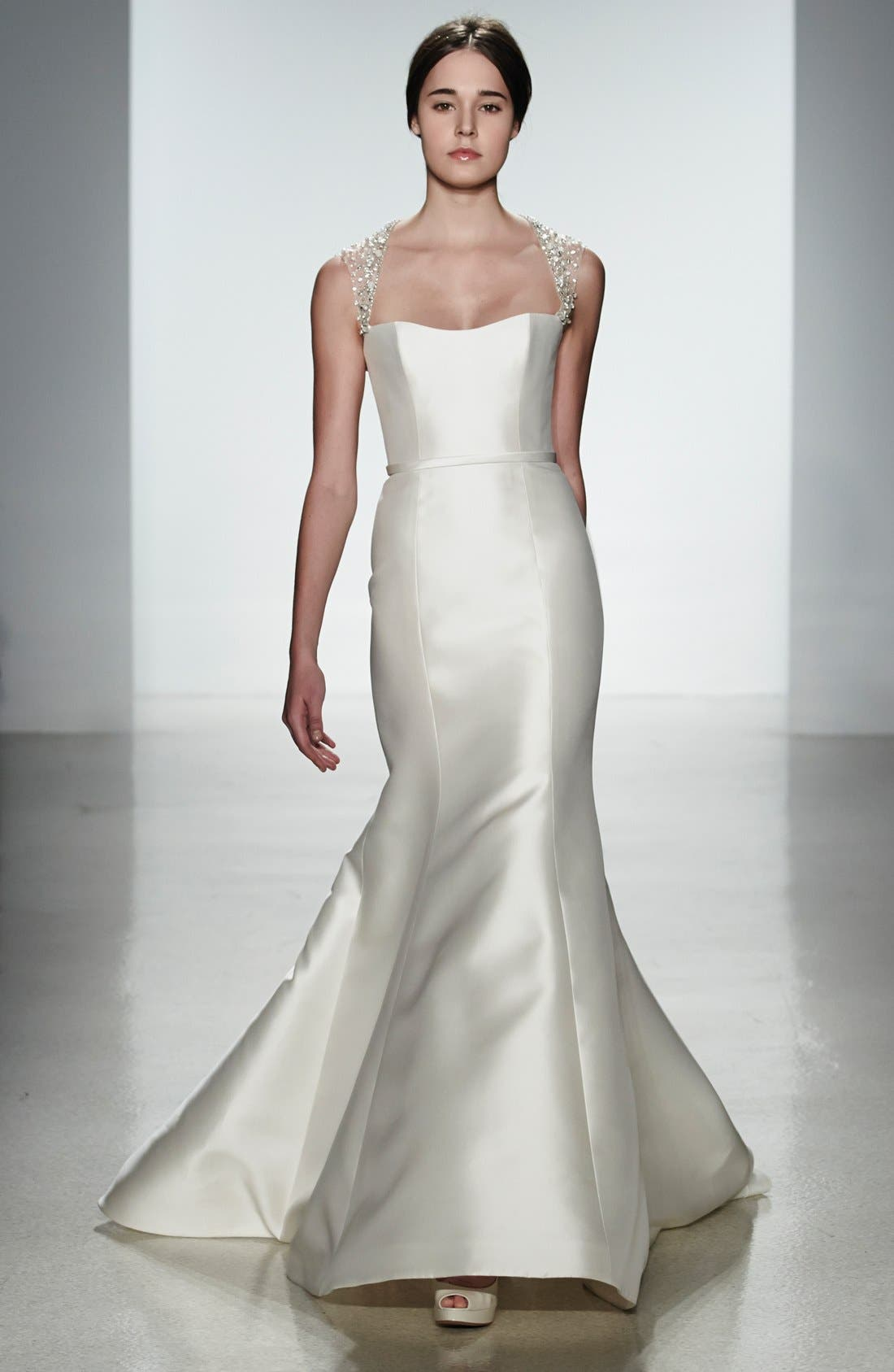 Alternate Image 4  - Amsale 'Lenox' Beaded Illusion Strap Silk Blend Trumpet Dress (In Stores Only)