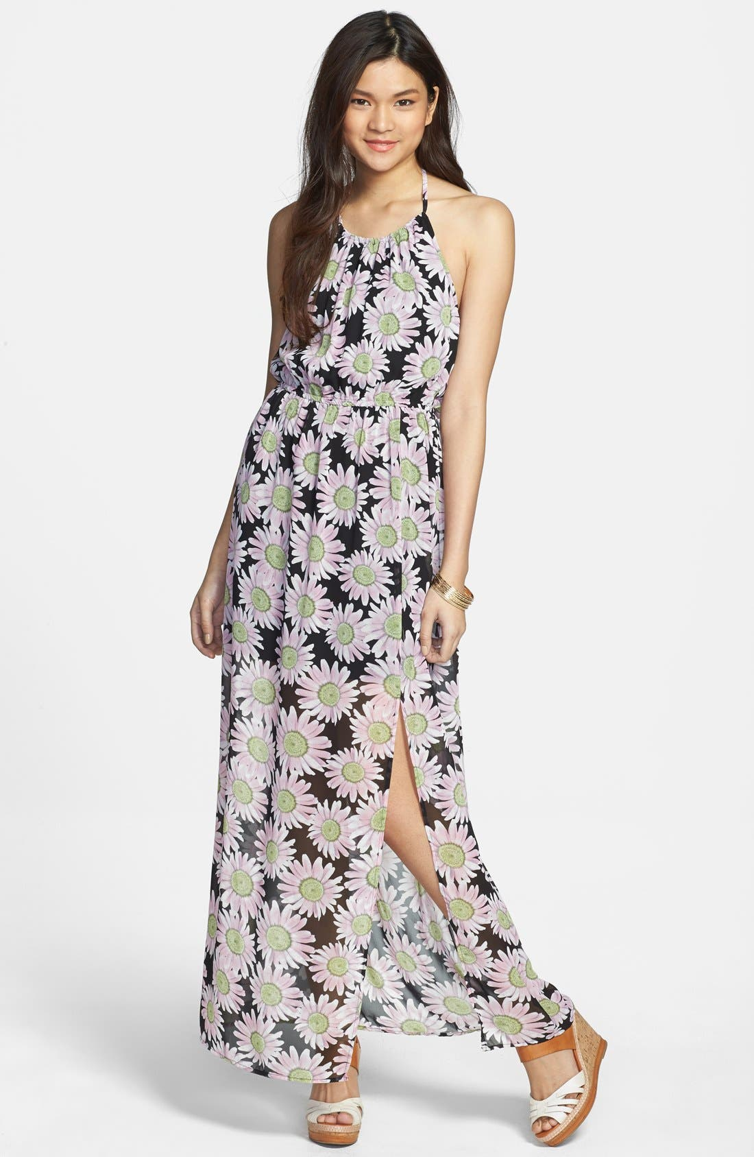 Alternate Image 1 Selected - Mimi Chica Floral Print Chiffon Halter Maxi Dress (Juniors)