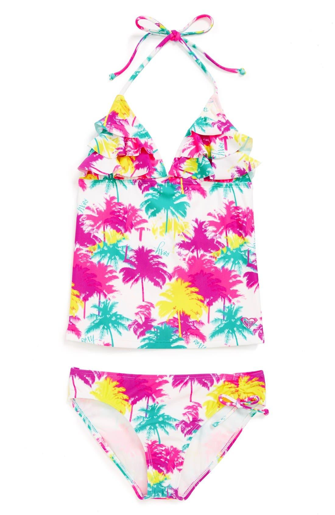 Alternate Image 1 Selected - Roxy Two-Piece Tankini Swimsuit (Big Girls)