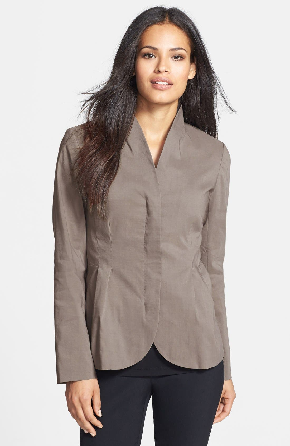 Main Image - Eileen Fisher High Collar Peplum Jacket (Regular & Petite)