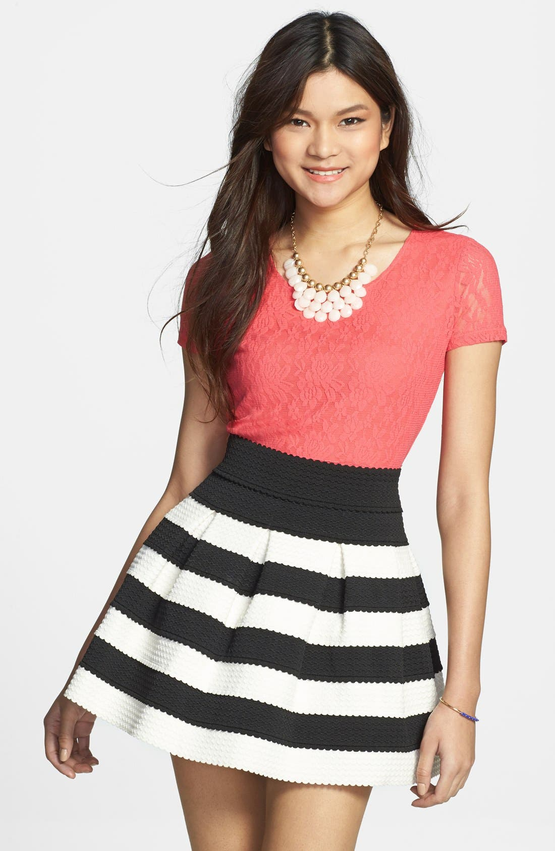 Alternate Image 1 Selected - Frenchi® Lace Crop Top (Juniors)