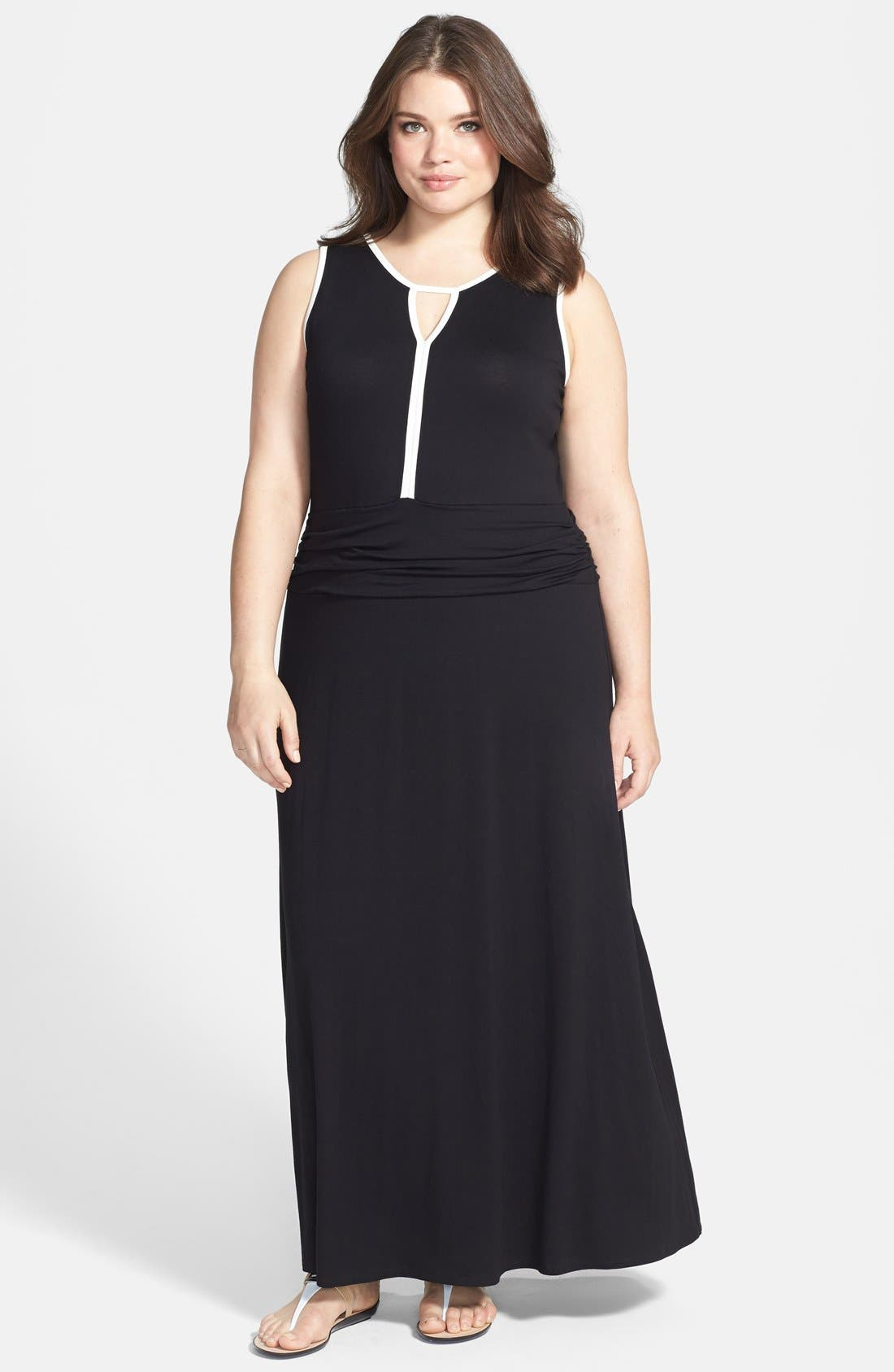 Alternate Image 1 Selected - Vince Camuto Colorblock Trim Maxi Dress (Plus Size)