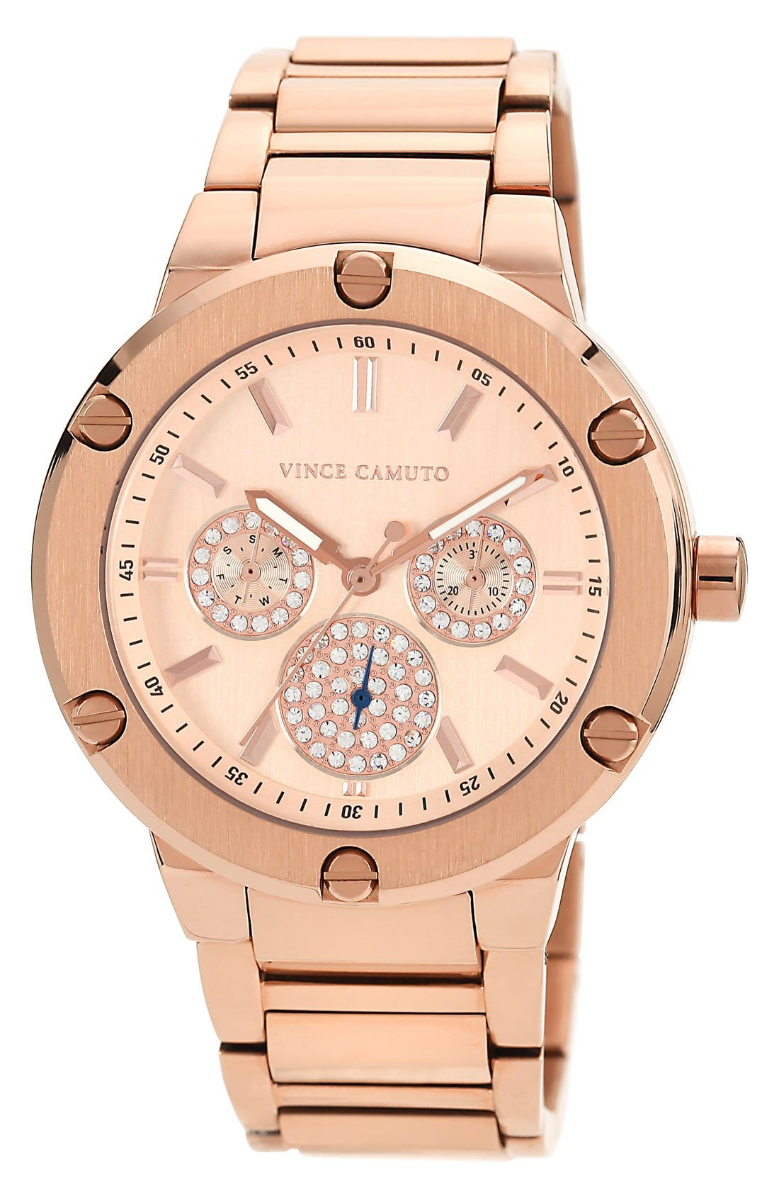 Alternate Image 1 Selected - Vince Camuto Crystal Multifunction Bracelet Watch, 42mm