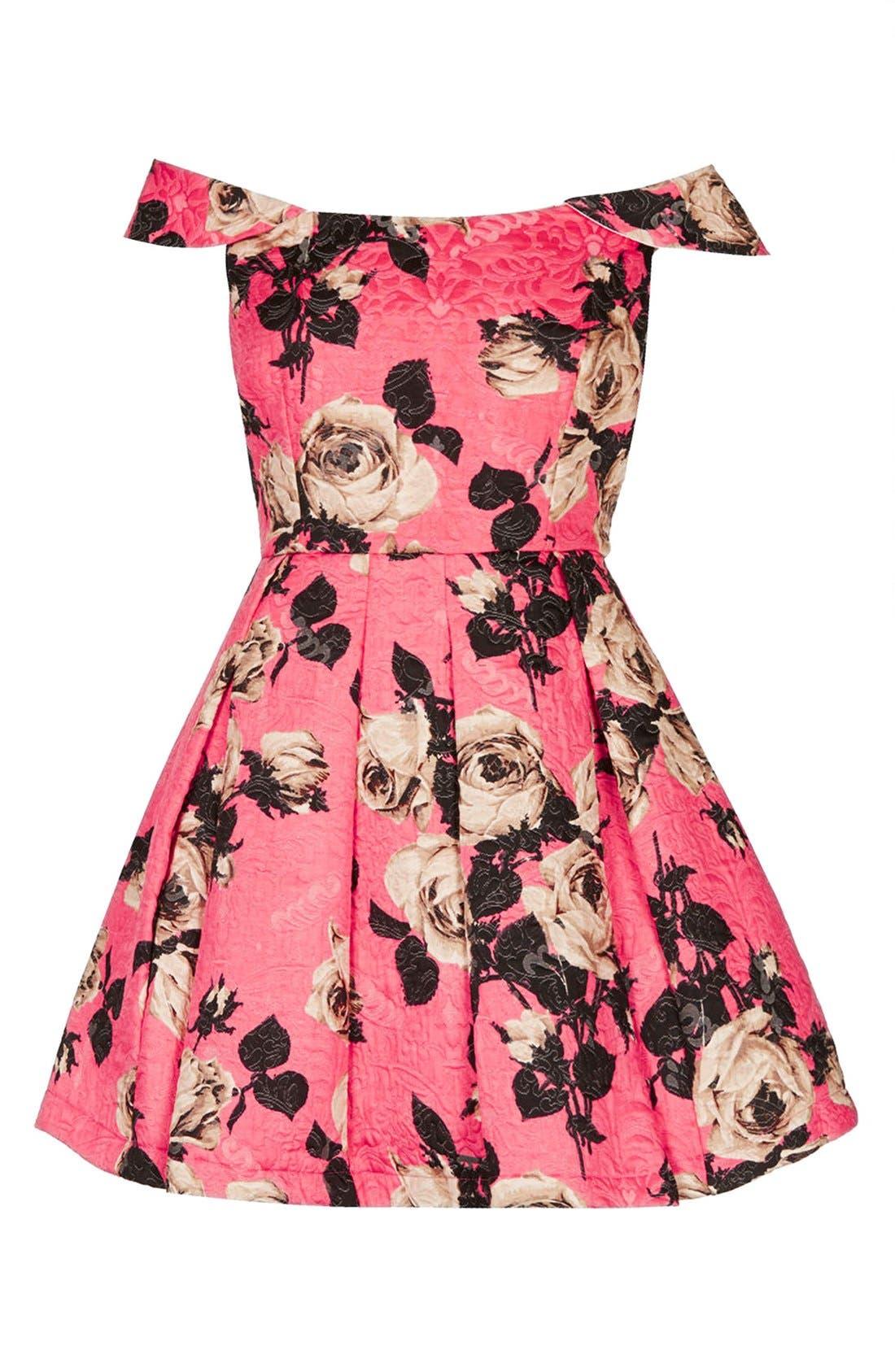 Alternate Image 3  - Topshop 'Bardot' Textured Floral Off Shoulder Fit & Flare Dress