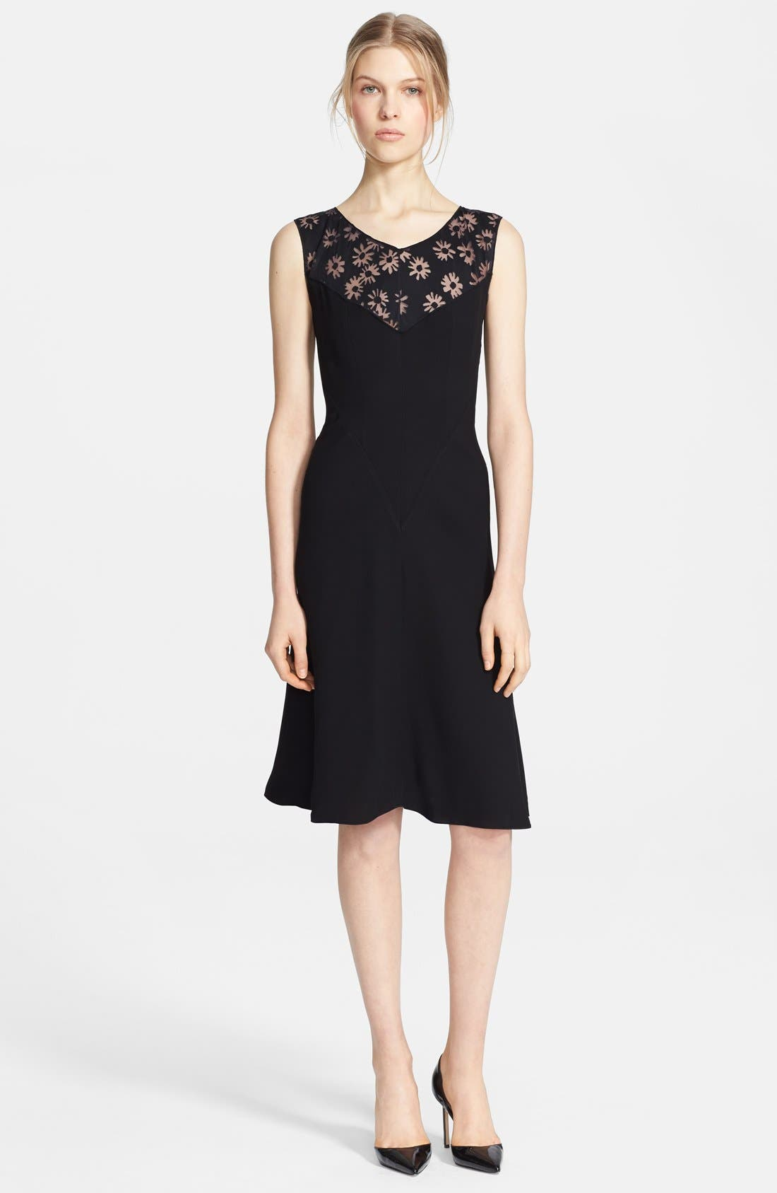 Main Image - Nina Ricci Sleeveless Devoré Yoke Dress