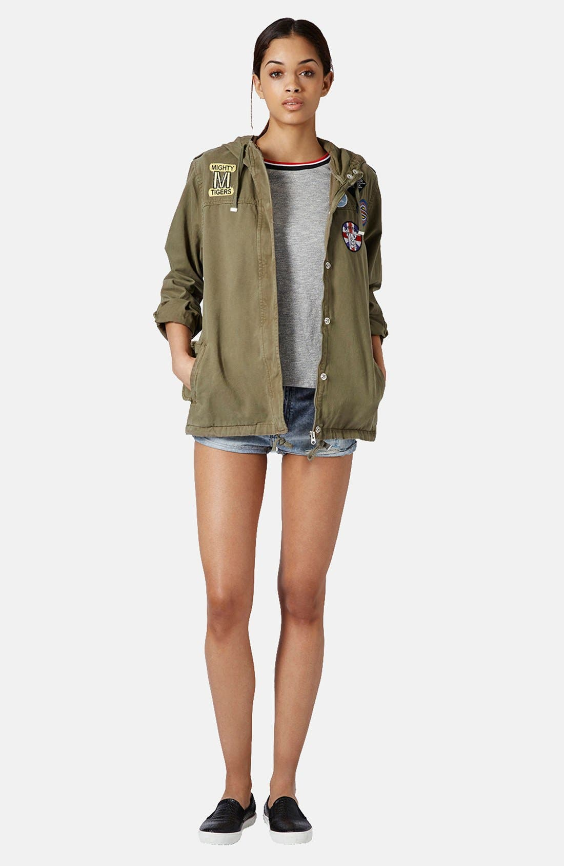 Alternate Image 5  - Topshop 'Ryan' Badge Detail Short Parka