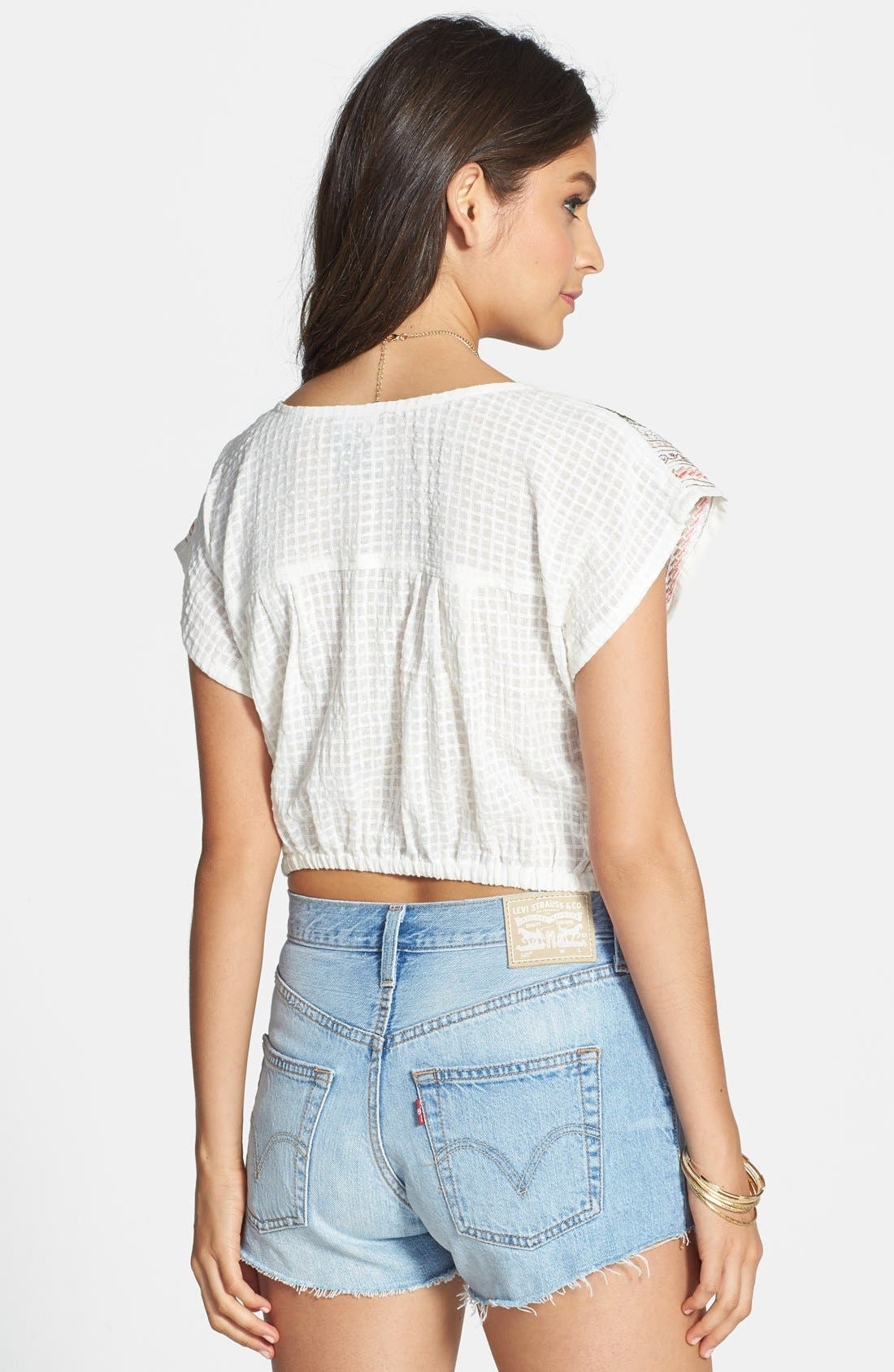 Alternate Image 2  - Angie Embroidered Yoke Crop Top (Juniors) (Online Only)