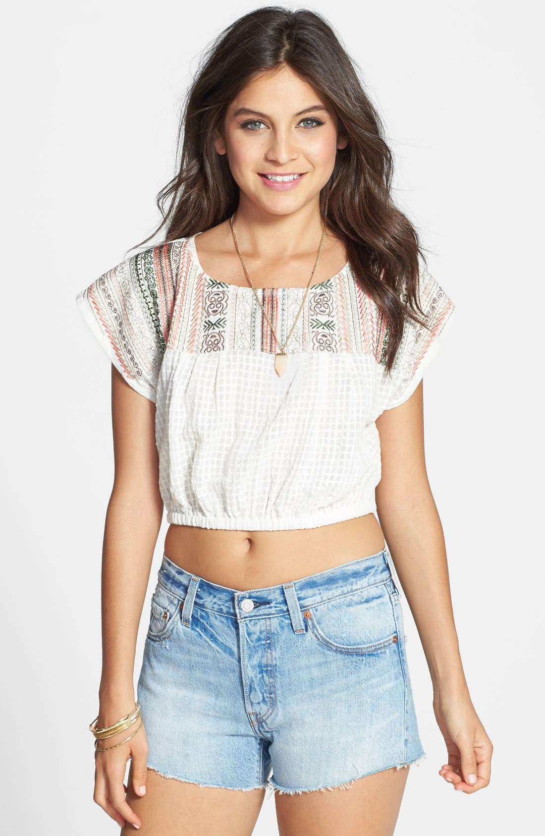 Alternate Image 1 Selected - Angie Embroidered Yoke Crop Top (Juniors) (Online Only)