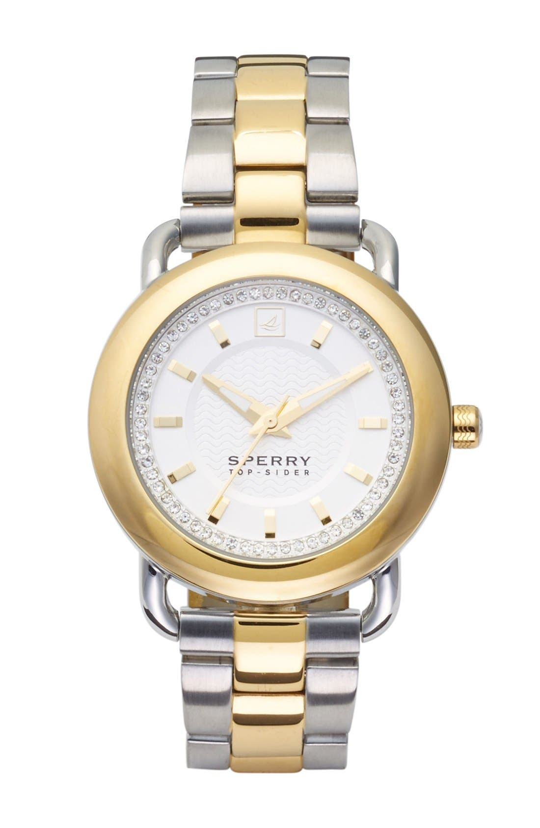 Alternate Image 1 Selected - Sperry Top-Sider® 'Hayden' Crystal Accent Two-Tone Bracelet Watch, 36mm