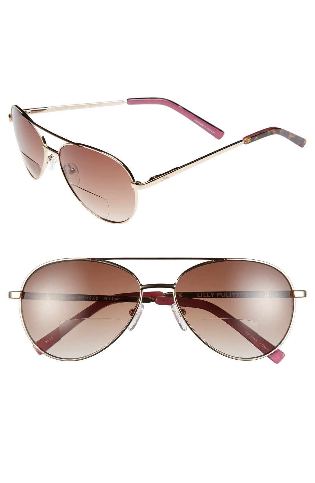 Main Image - Lilly Pulitzer® 'Sailor' 58mm Aviator Reading Sunglasses