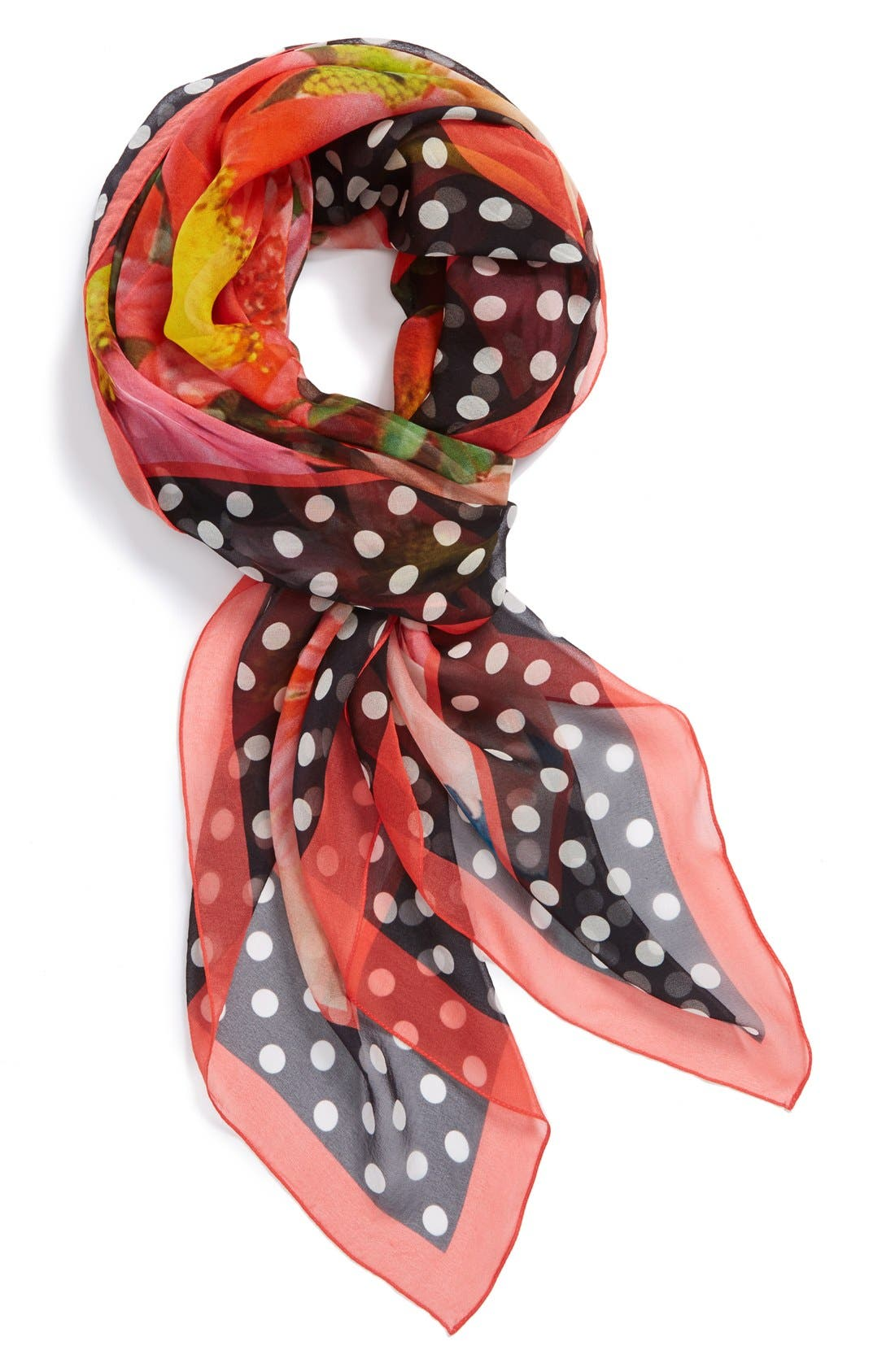 Alternate Image 1 Selected - Nordstrom Floral Dots Silk Scarf